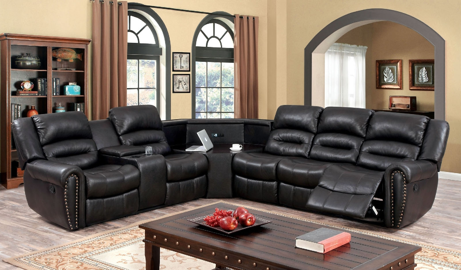 Great Black Sectional Sofa With Recliners 29 For High Quality With Quality Sectional Sofas (View 6 of 10)