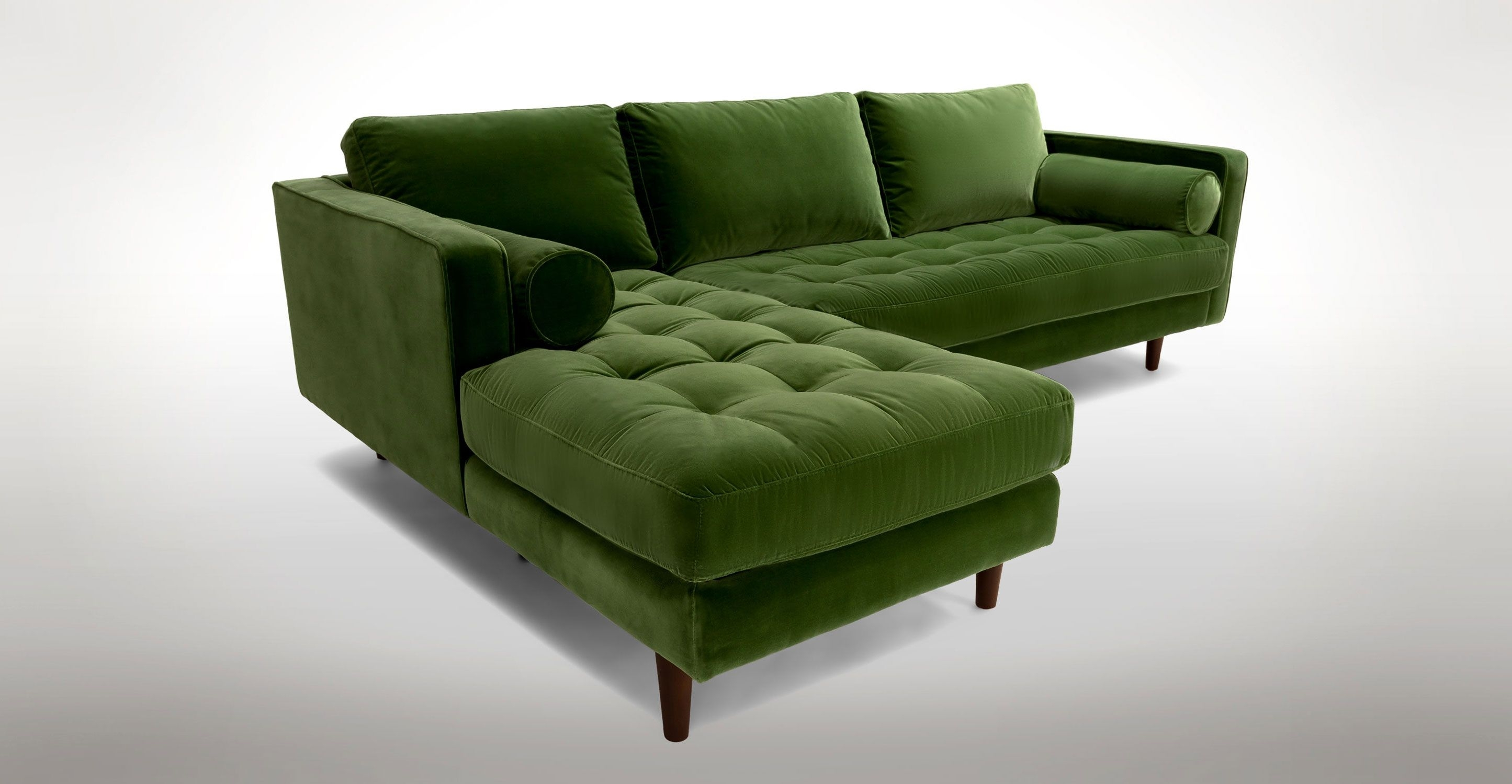 Green Velvet Left Sectional – Tufted | Article Sven Modern Furniture Throughout Green Sectional Sofas (View 6 of 10)