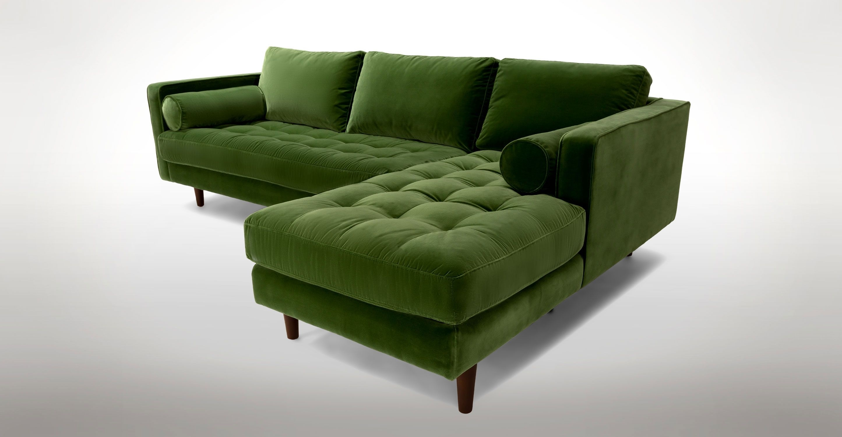 Green Velvet Right Sectional – Tufted | Article Sven Modern With Green Sectional Sofas (View 10 of 10)