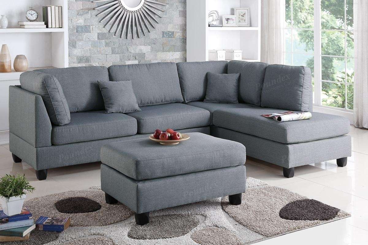 Grey Fabric Sectional Sofa And Ottoman - Steal-A-Sofa Furniture inside Sectional Sofas With Chaise And Ottoman (Image 11 of 15)