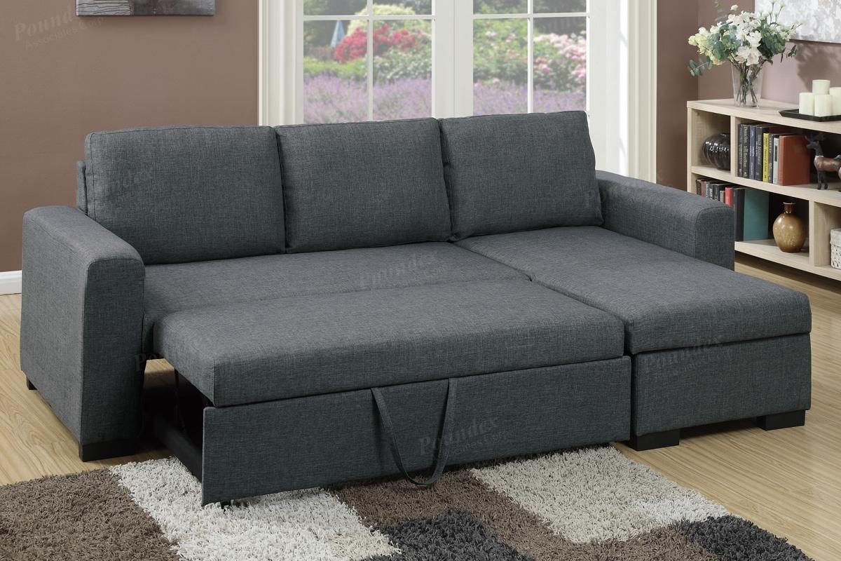 Grey Fabric Sectional Sofa Bed – Steal A Sofa Furniture Outlet Los With Regard To Sectional Sofas That Turn Into Beds (View 6 of 10)