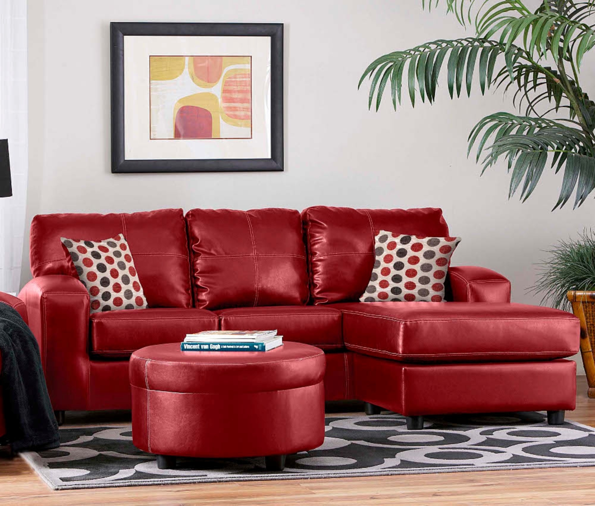 Grey Living Room Red Couch Imanada Leather Sectional Sofa With within Red Leather Sectional Sofas With Ottoman (Image 4 of 15)