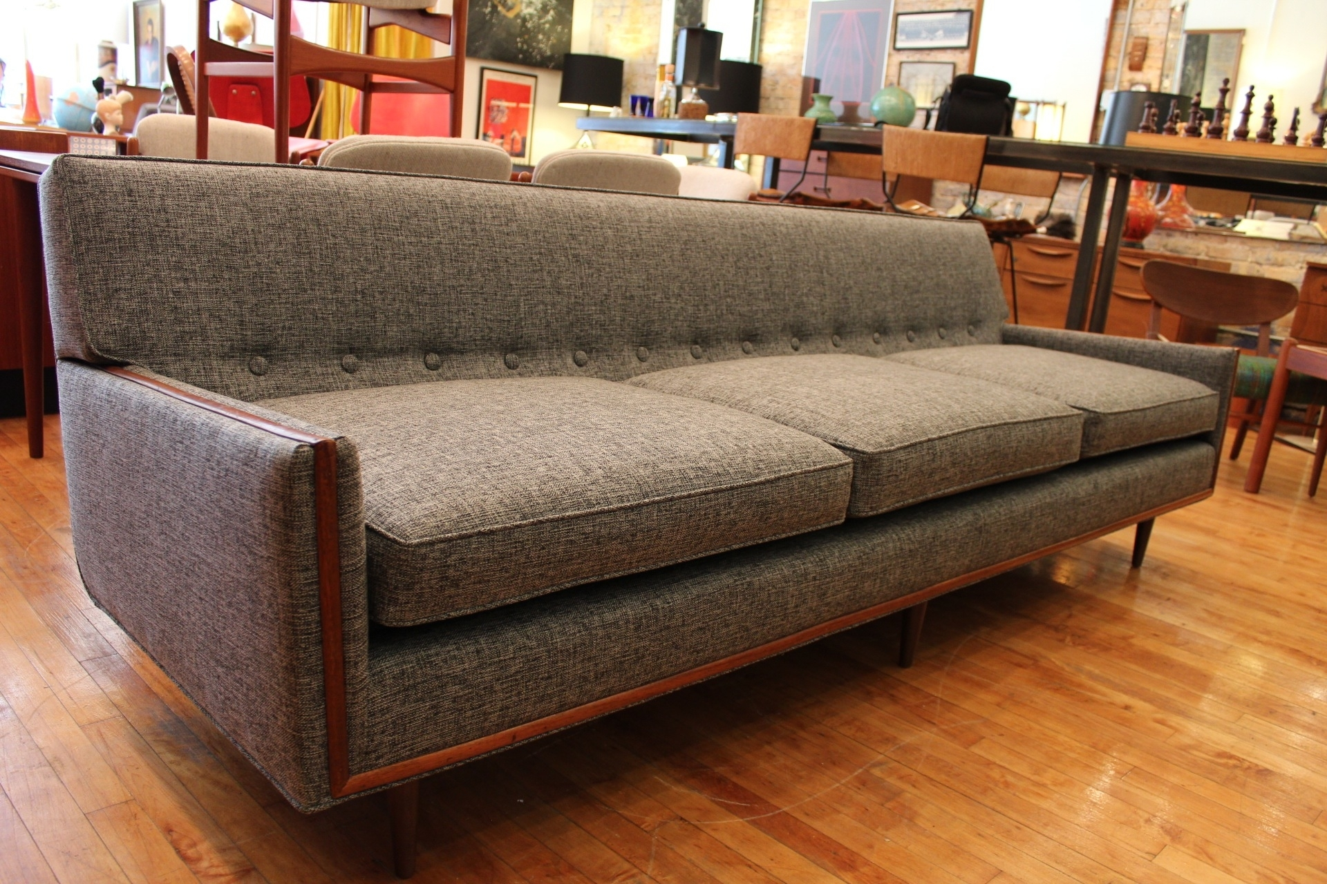 Grey Vintage Mid Century Modern Sofa Pertaining To Vintage Sectional Sofas (View 8 of 10)