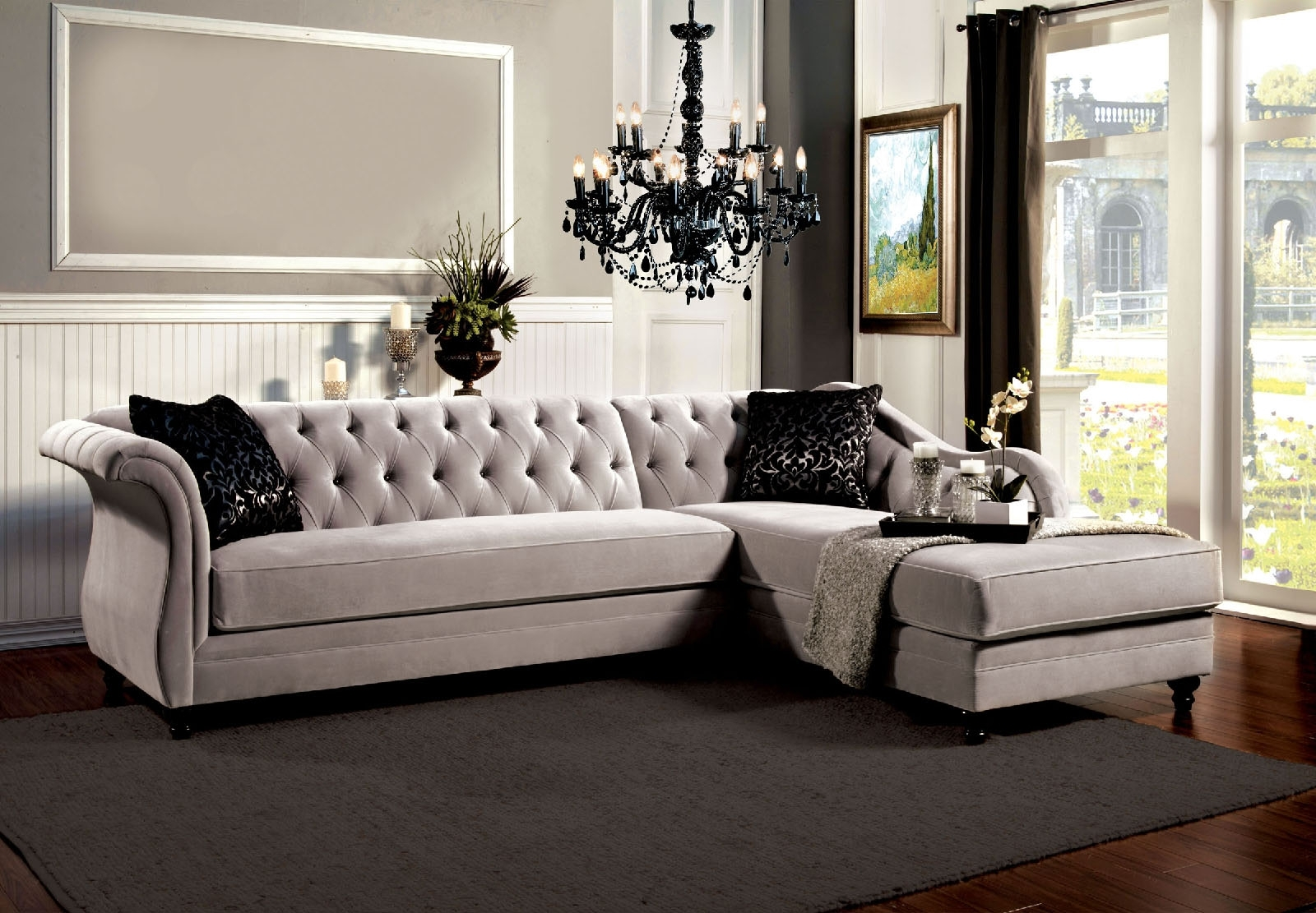 Grey Vintage Tufted Sectional Sofa Regarding Vintage Sectional Sofas (View 9 of 10)