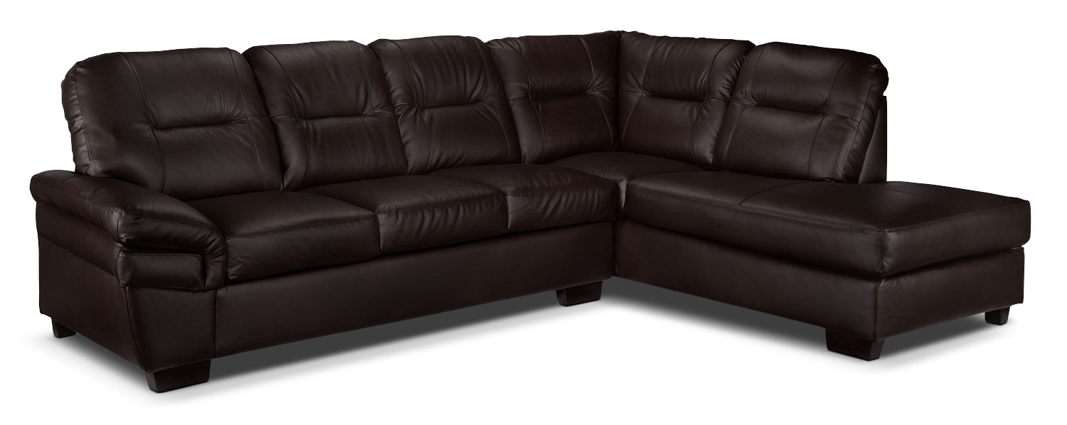 Harper 2-Piece Sectional With Right-Facing Chaise - Dark Chocolate in Leons Sectional Sofas (Image 6 of 10)
