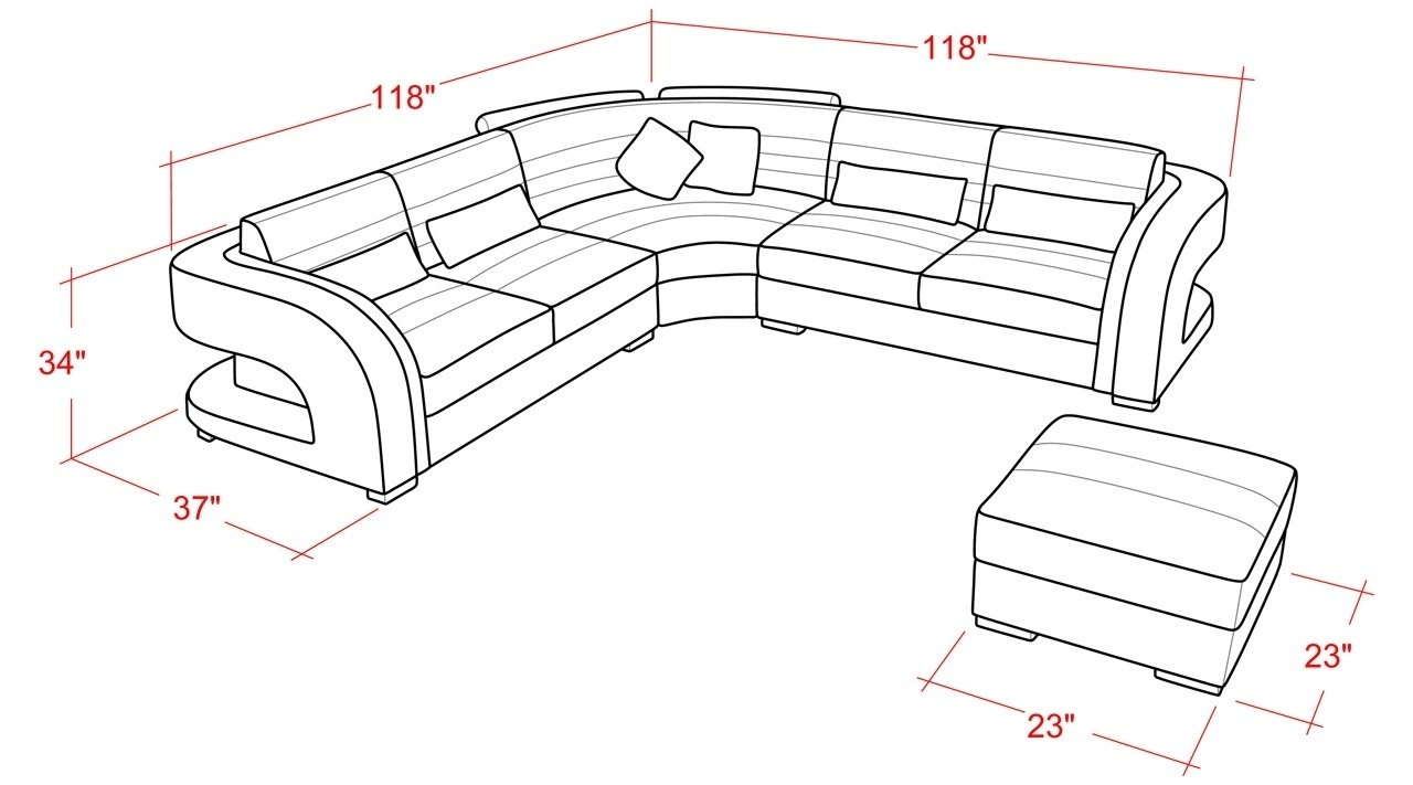 Home Decor: Wonderful Sectional Sofa Dimensions Combine With Average Inside Sectional Sofas By Size (View 7 of 15)