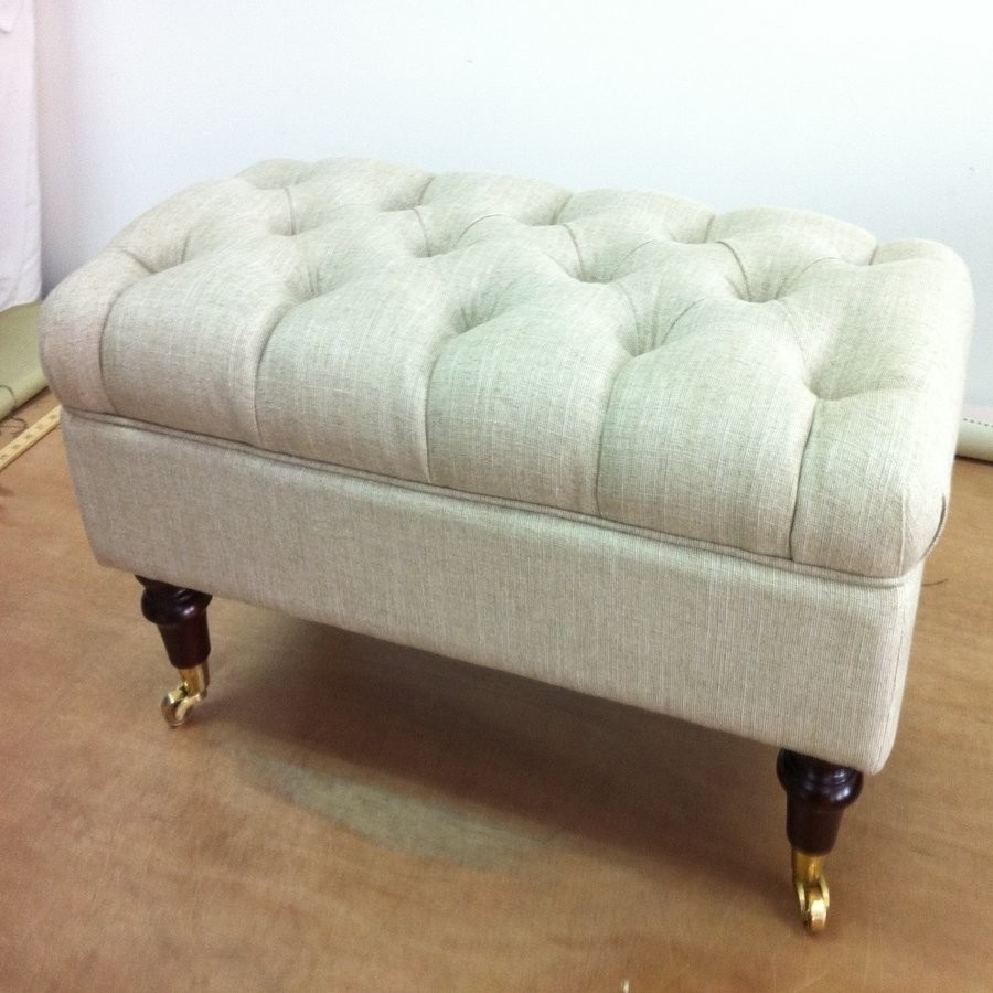 Home Design : Furniture. Rectangle Beige Storage Ottoman With Small inside Ottomans With Wheels (Image 6 of 15)
