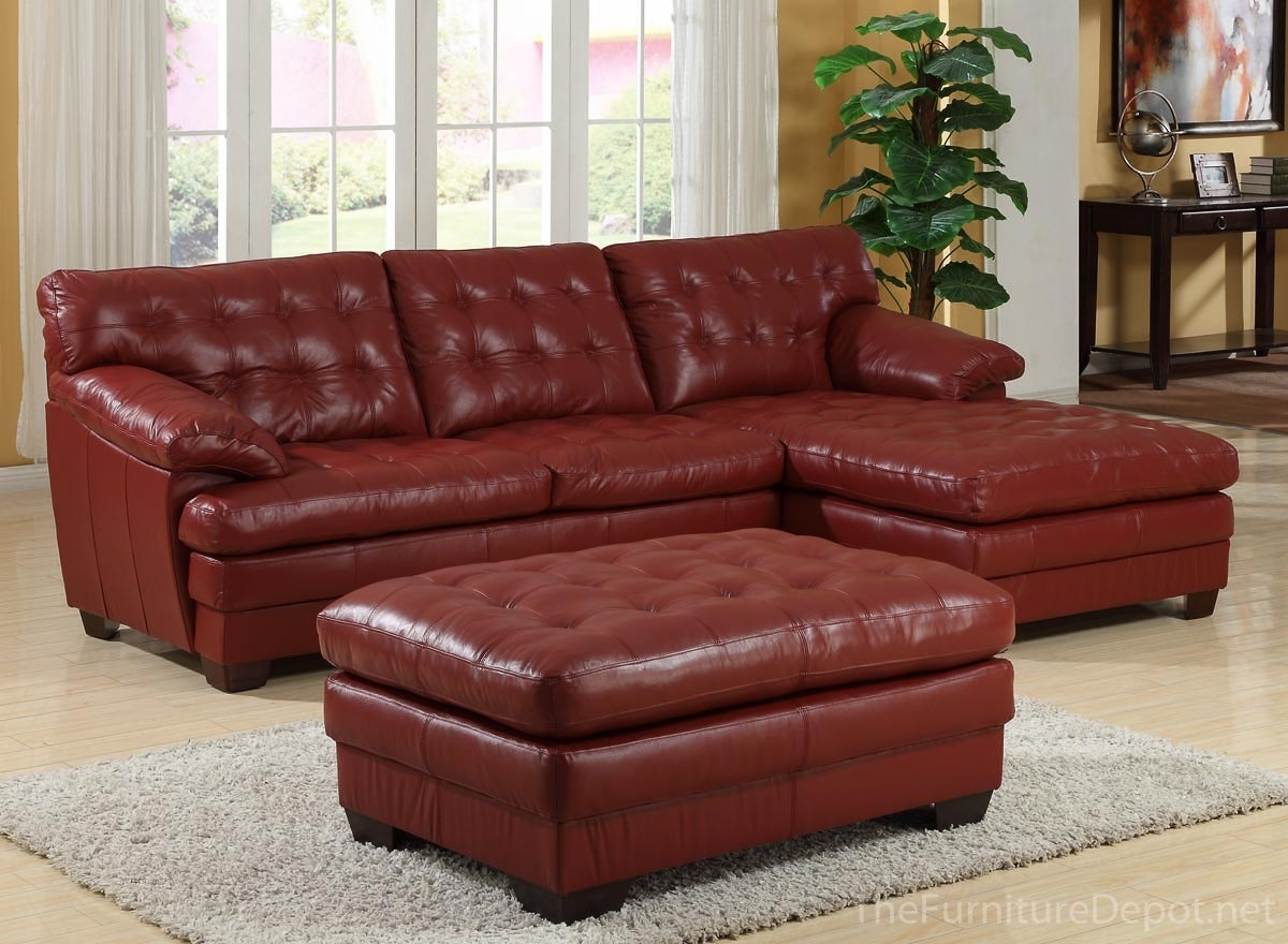 Homelegance 9817 All Leather Sectional Sofa Set – Red U9817Red intended for Red Leather Sectional Sofas With Ottoman (Image 5 of 15)