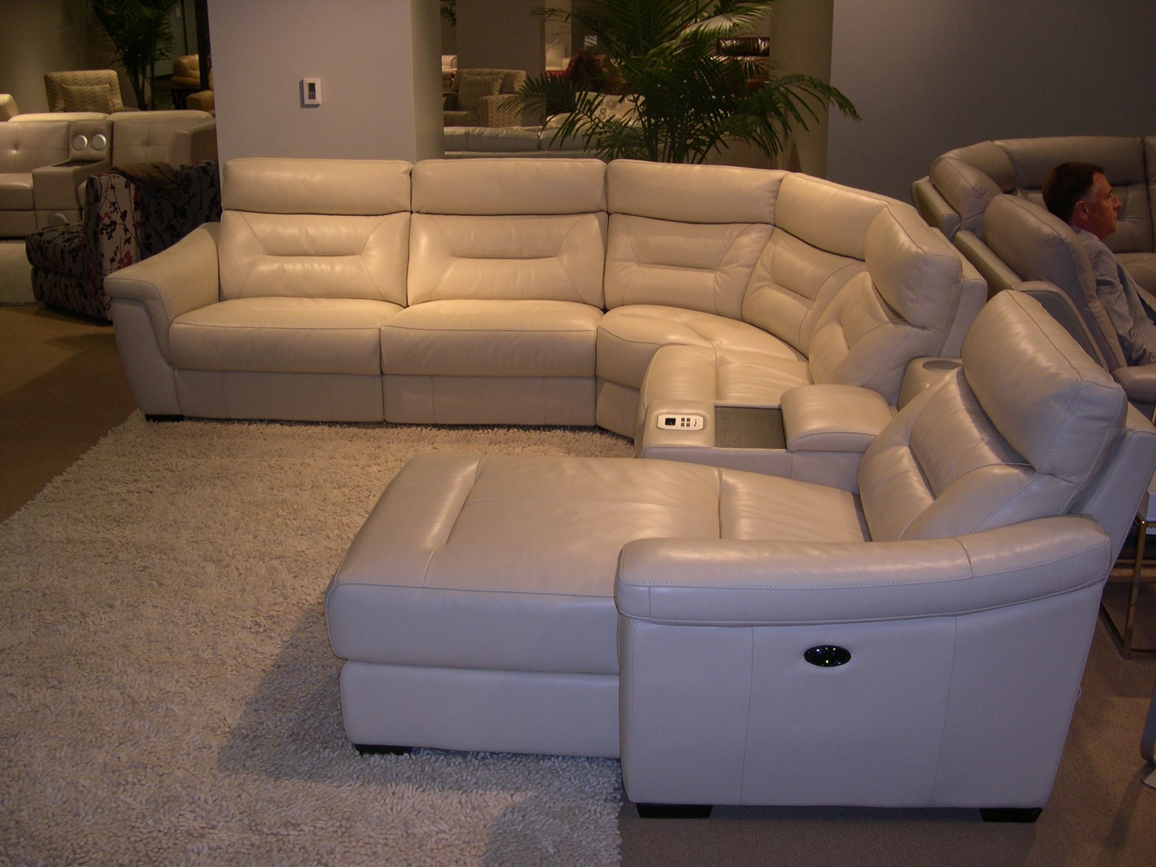 Htl Leather Sectional - Adjustable Headrests. Note The Built-In inside Sectional Sofas With Consoles (Image 2 of 10)
