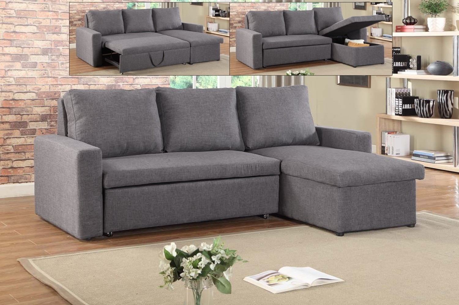 If-9000 -Sectional Sofa Bed With Reversible Chaise - Lowest Price pertaining to Sectional Sofas At Brampton (Image 6 of 15)