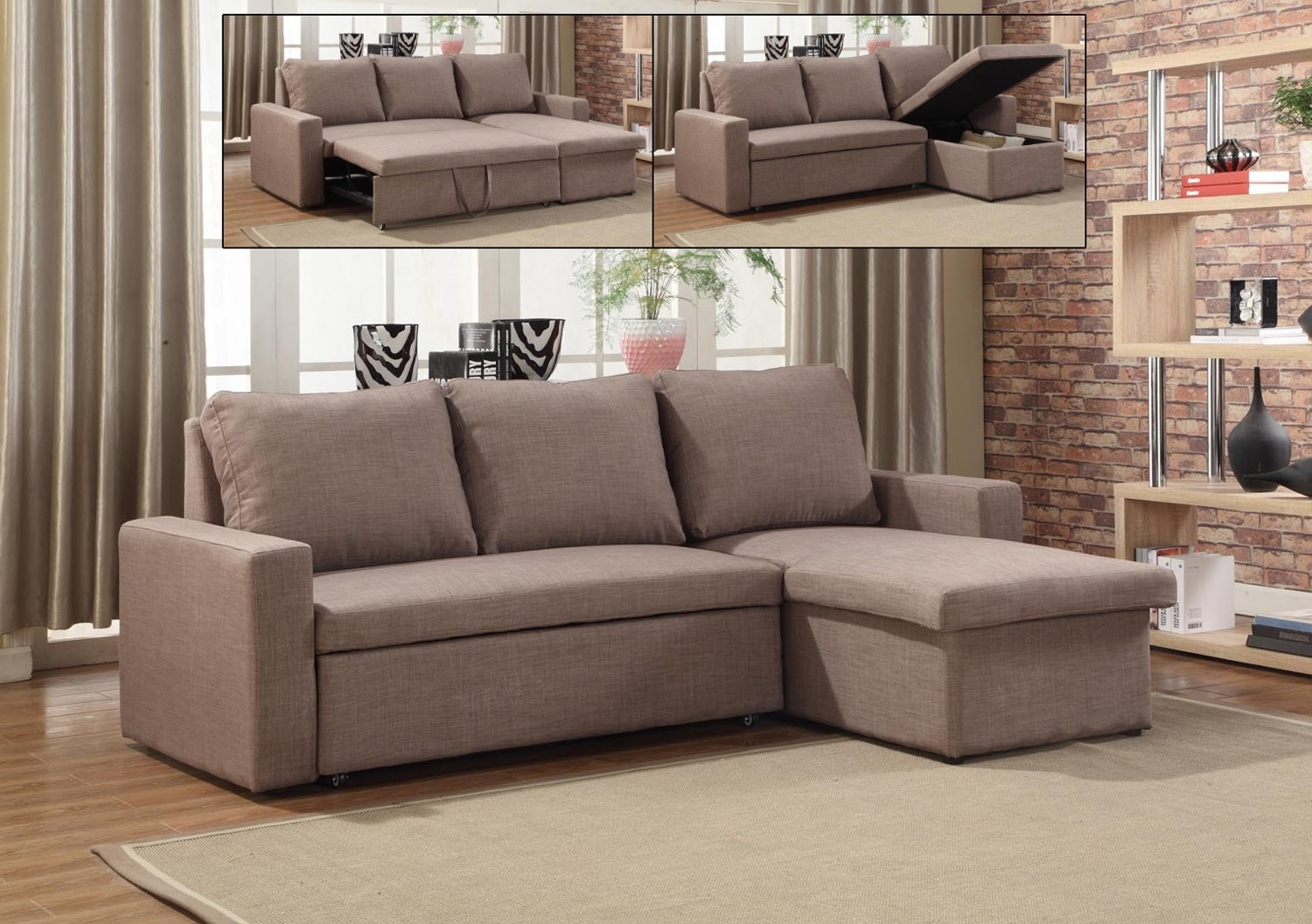 If-9001 -Sectional Sofa Bed With Reversible Chaise - Lowest Price in Sectional Sofas At Brampton (Image 7 of 15)