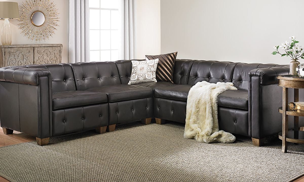 In Pella Trapuntata Leather Sectional Sofa | The Dump Luxe Furniture Intended For Sectional Sofas At The Dump (View 8 of 15)