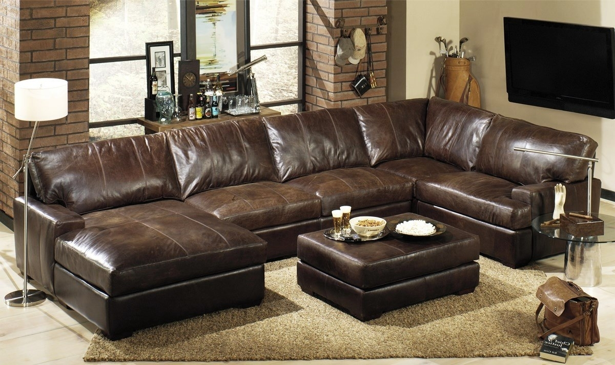 Interesting Leather Sectional With Chaise For Modern Living Room Inside Leather Sectional Sofas (View 2 of 10)