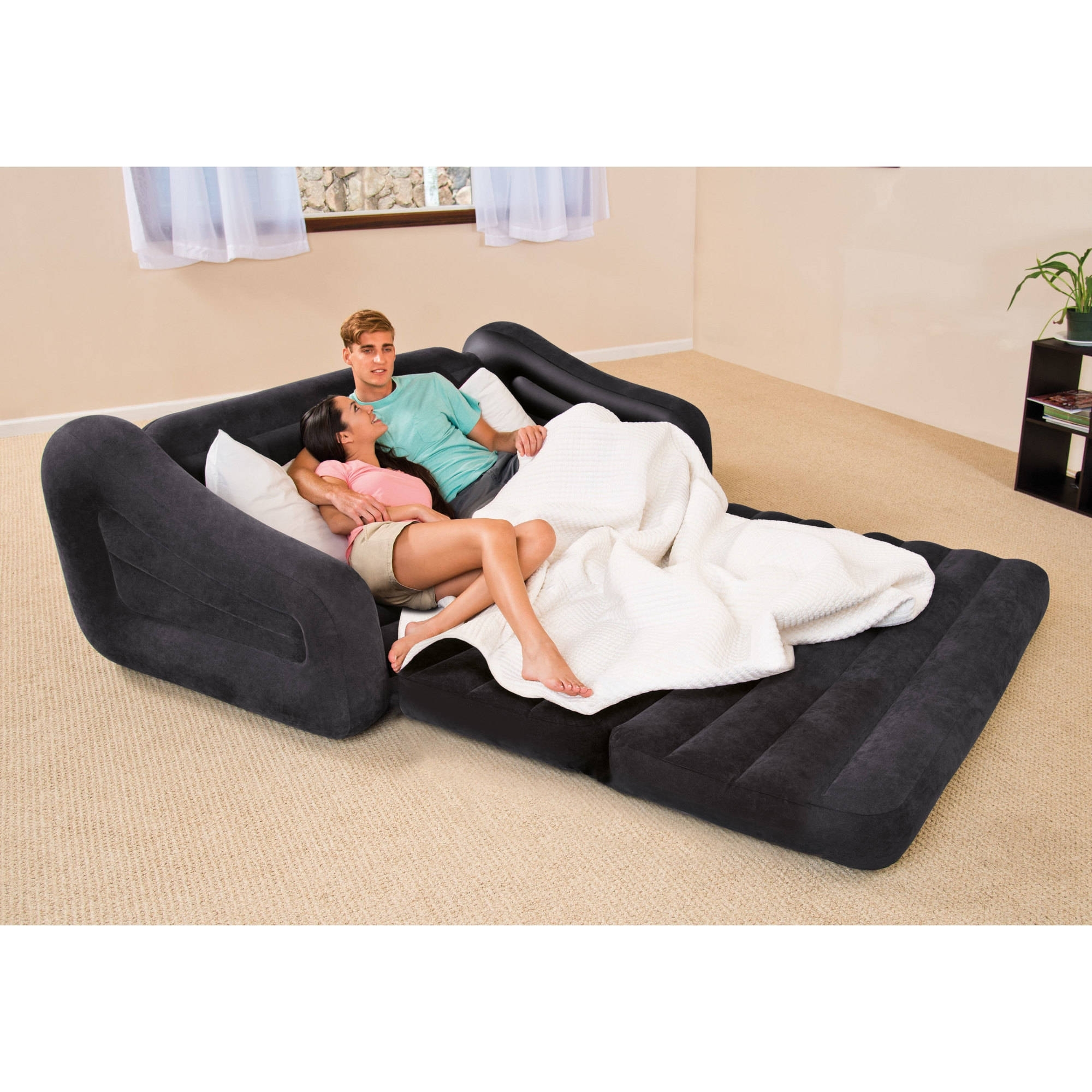 Intex Queen Inflatable Pull Out Sofa Bed - Walmart throughout Queens Ny Sectional Sofas (Image 7 of 10)