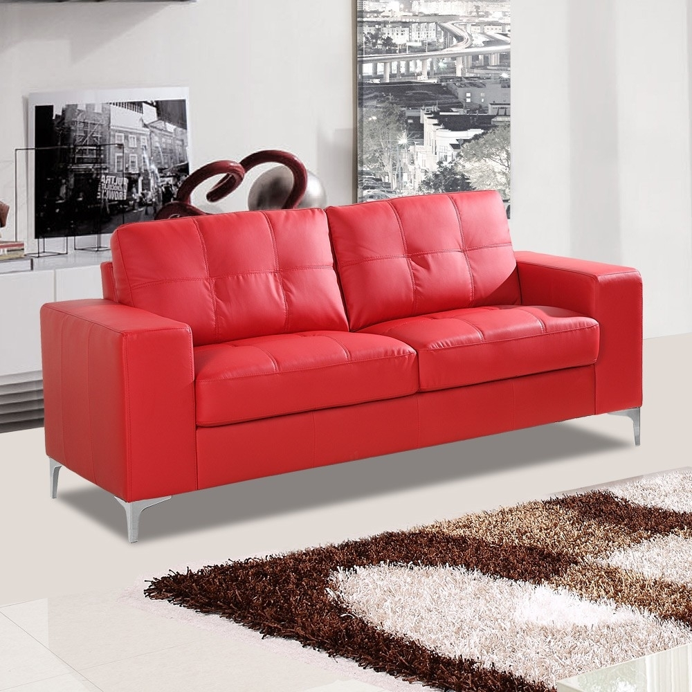 Italian Inspired Red Leather Sofa Collection With Chrome Stiletto Feet Inside Red Leather Sofas (View 9 of 15)