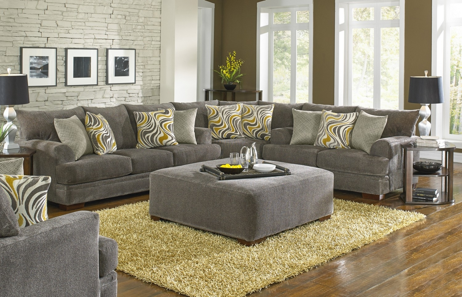 Jackson Crompton Sofa Sectional Sofa Set - Pewter Jf-4462-Sect-Set inside Dayton Ohio Sectional Sofas (Image 4 of 10)