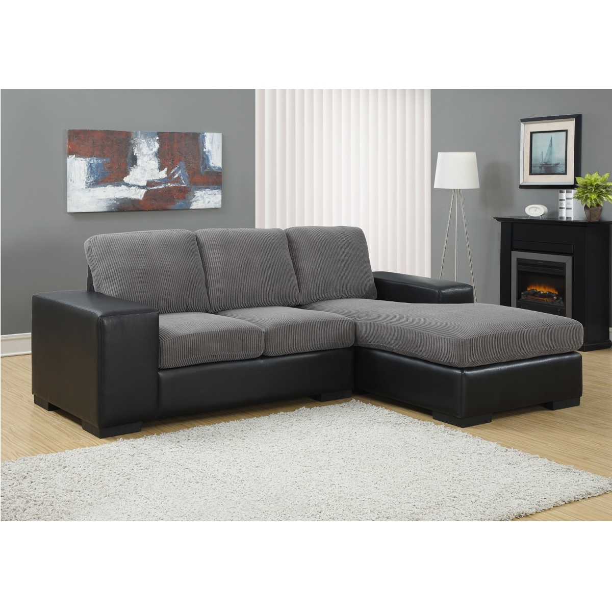 Jacob Corduroy Sofa In Grey & Black | Modern Sectional Sofas With Sectional Sofas For Condos (View 3 of 10)