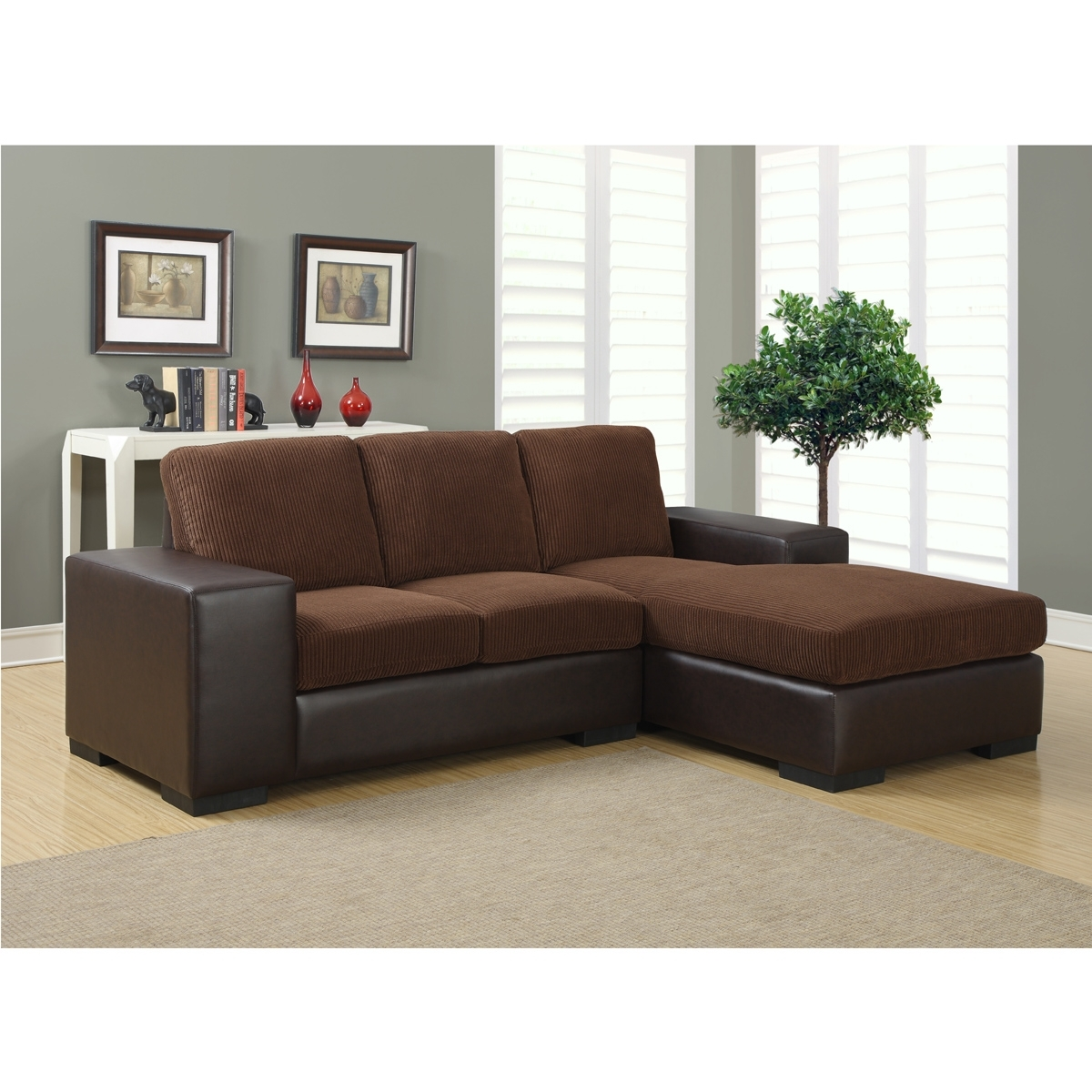 Jacob Sectional Sofa | Modern Sectional Sofas In Brown Corduroy With Regard To Sectional Sofas For Condos (View 4 of 10)
