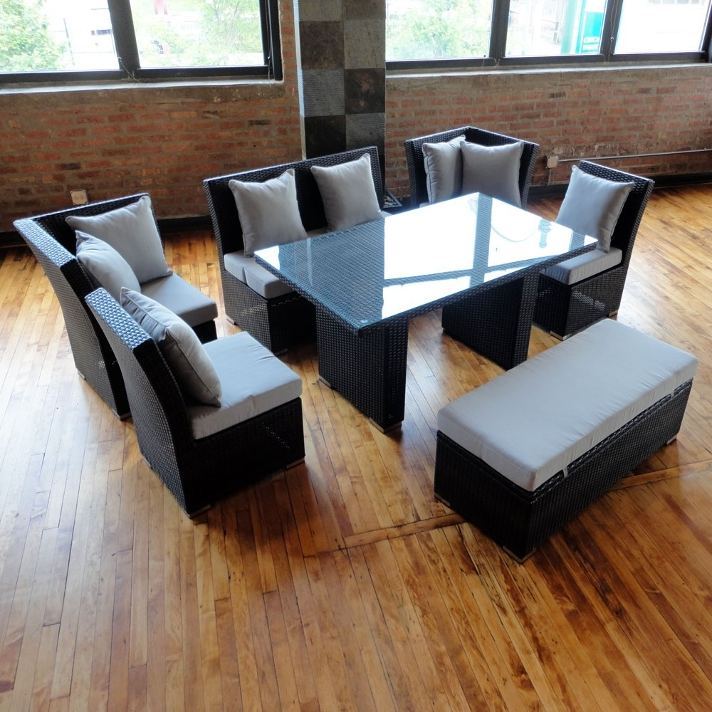 Jamaican Sofa And Dining Set In Brown Wicker, Light Gray Fabric pertaining to Jamaica Sectional Sofas (Image 8 of 10)