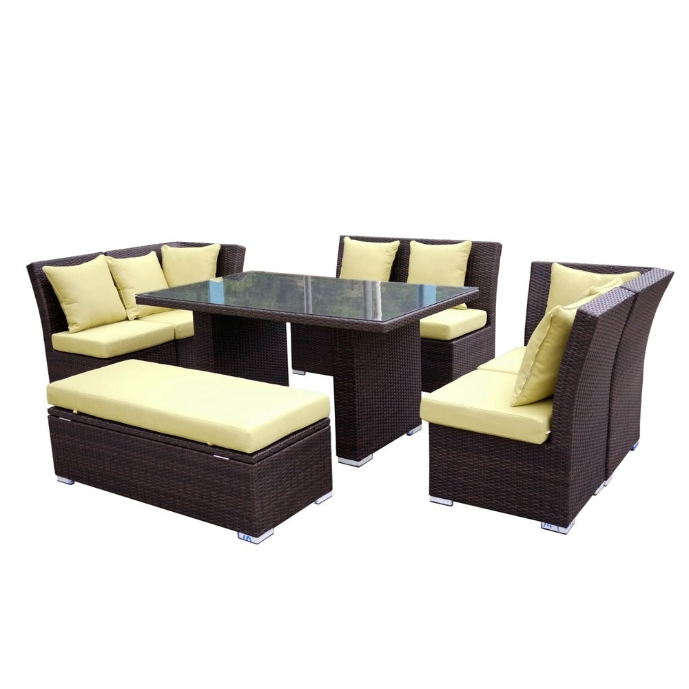 Jamaican Sofa And Dining Set In Brown Wicker, Light Green Fabric pertaining to Jamaica Sectional Sofas (Image 9 of 10)