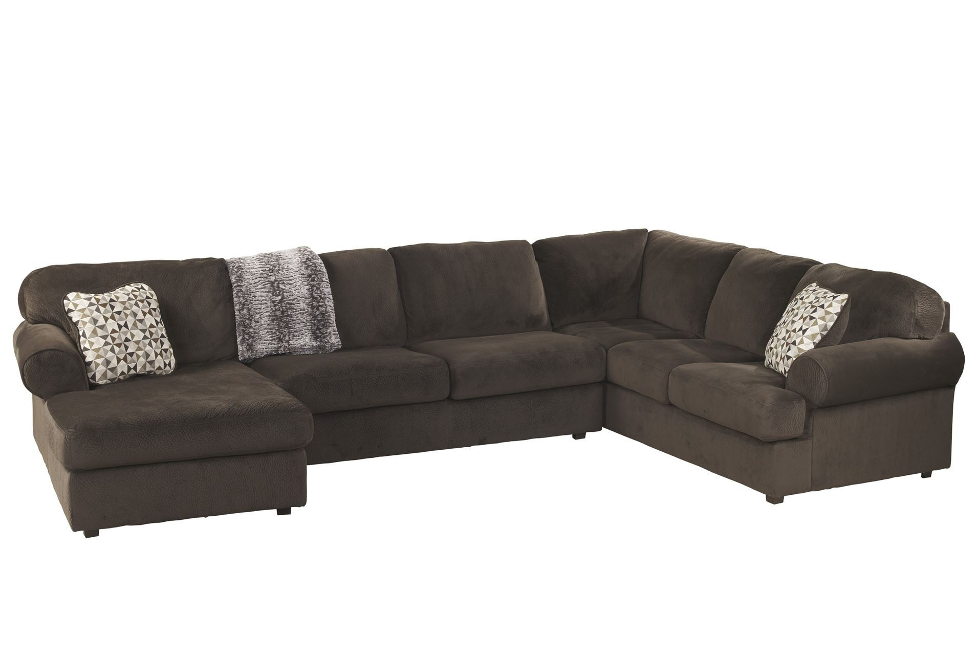 Jessa Place Chocolate 3 Piece Sectional W/raf Chaise | Living Rooms in Homemakers Sectional Sofas (Image 5 of 10)