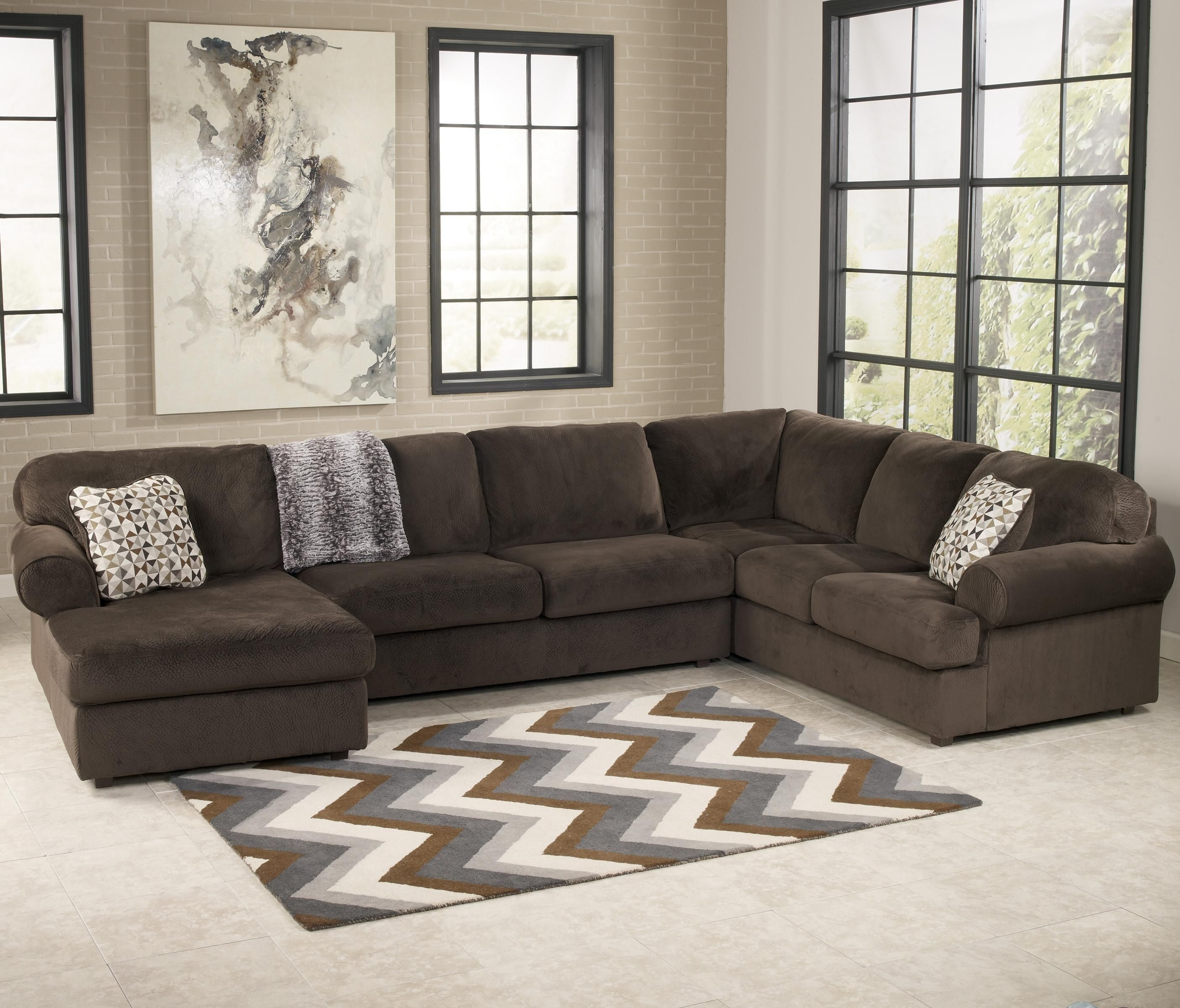 Jessa Place - Chocolate Casual Sectional Sofa With Left Chaise regarding Jackson Ms Sectional Sofas (Image 4 of 10)