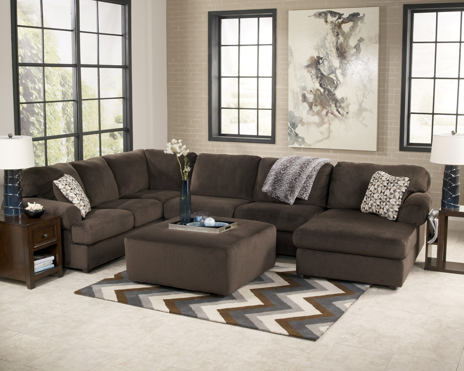 Jessa Place Collection Chocolate Sectional Sofa in Chocolate Sectional Sofas (Image 9 of 15)