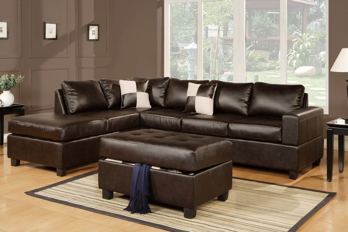 Julius Espresso Bonded Leather Sectional Sofa With Ottoman regarding Leather Sectionals With Ottoman (Image 9 of 15)