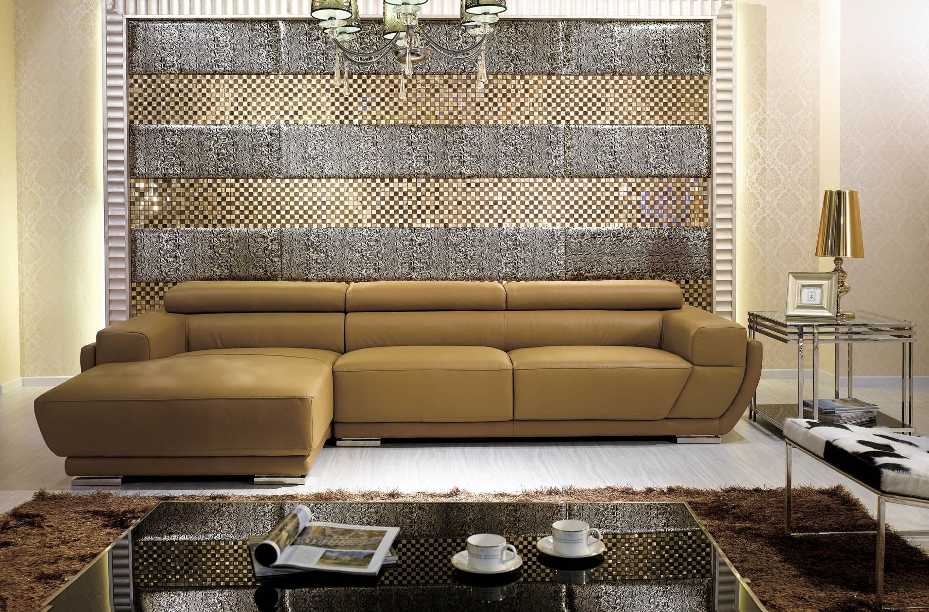 K8300 Modern Camel Italian Leather Sectional Sofa with regard to Camel Colored Sectional Sofas (Image 9 of 10)