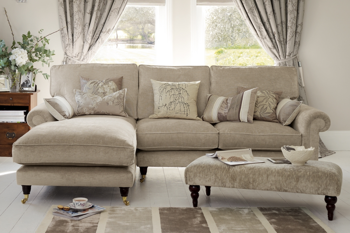 "Kingston"" Sectional Sofa With Chaise In Sable Beige From Laura Inside Kingston Sectional Sofas (Photo 1 of 10)"