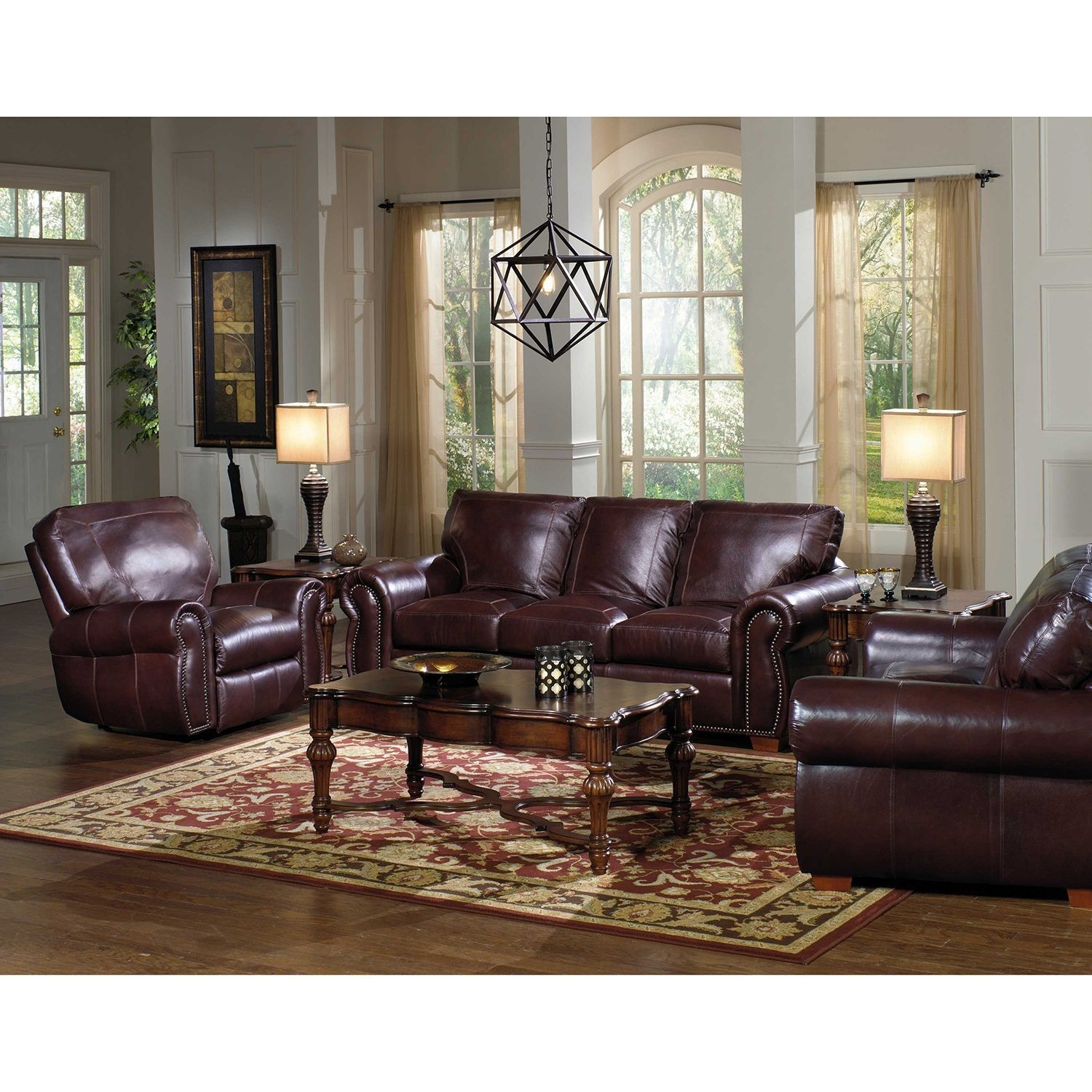 Kingston Top-Grain Leather Sofa, Loveseat And Recliner Living Room with regard to Kingston Sectional Sofas (Image 4 of 10)