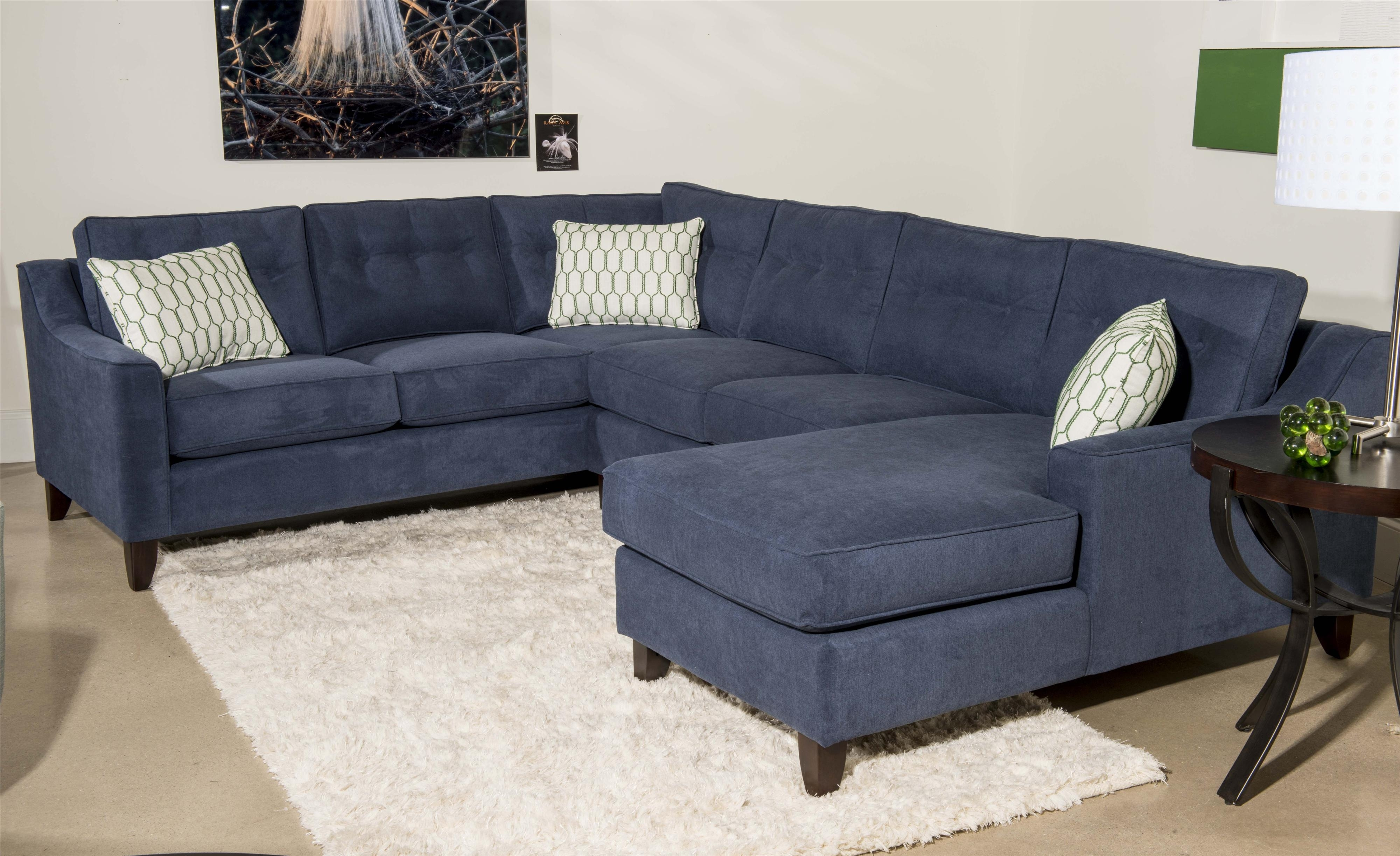 Klaussner Audrina Contemporary 3 Piece Sectional Sofa With Chaise For Sectional Sofas With Chaise (View 7 of 15)