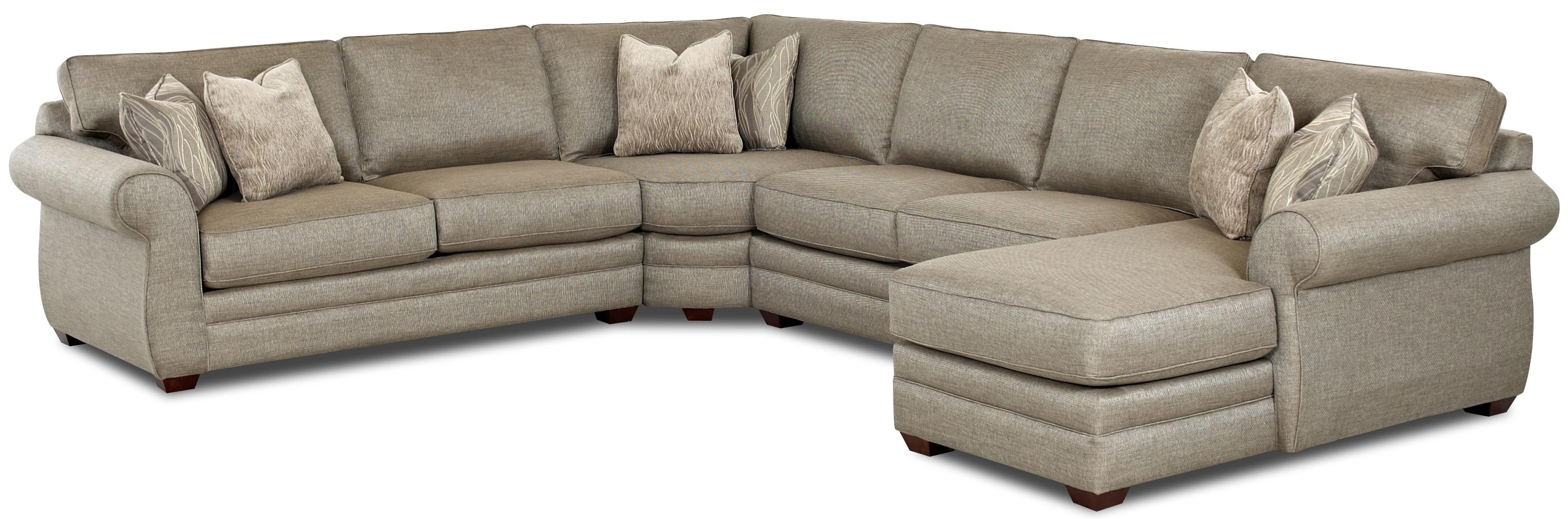 Klaussner Clanton Transitional Sectional Sofa With Right Chaise And With Pittsburgh Sectional Sofas (Gallery 8 of 10)