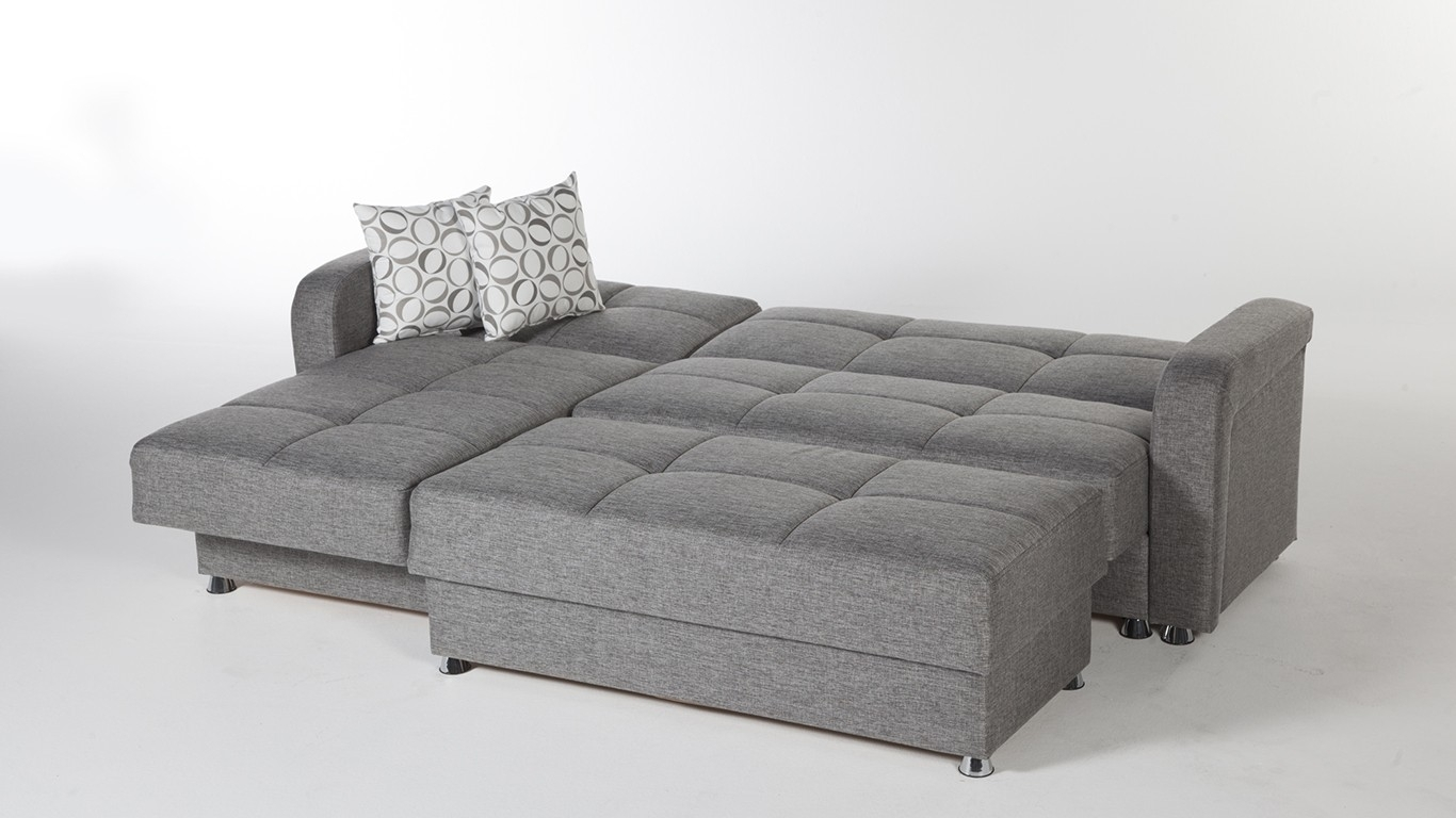 Large 3 Piece Microfiber Tufted Sectional Sleeper Sofa With Storage Pertaining To Sectional Sleeper Sofas With Ottoman (View 9 of 15)
