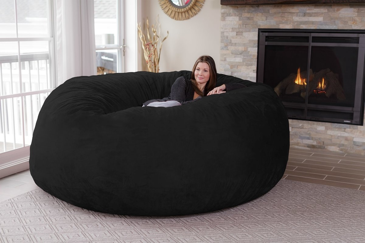 Latitude Run Extra Large Microsuede Bean Bag Sofa & Reviews | Wayfair With Regard To Bean Bag Sofas (View 10 of 10)