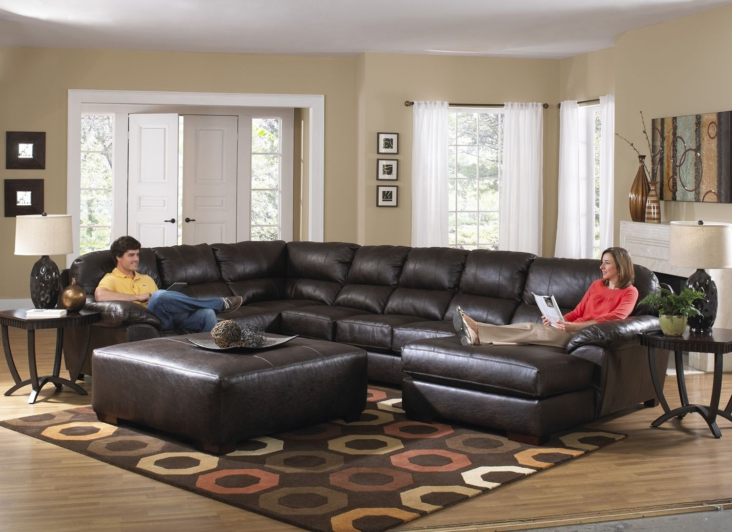 Lawson Godiva U Shape Sectional Sofa W/ Chaise In Chocolate Bonded Throughout Sectionals With Oversized Ottoman (View 4 of 15)