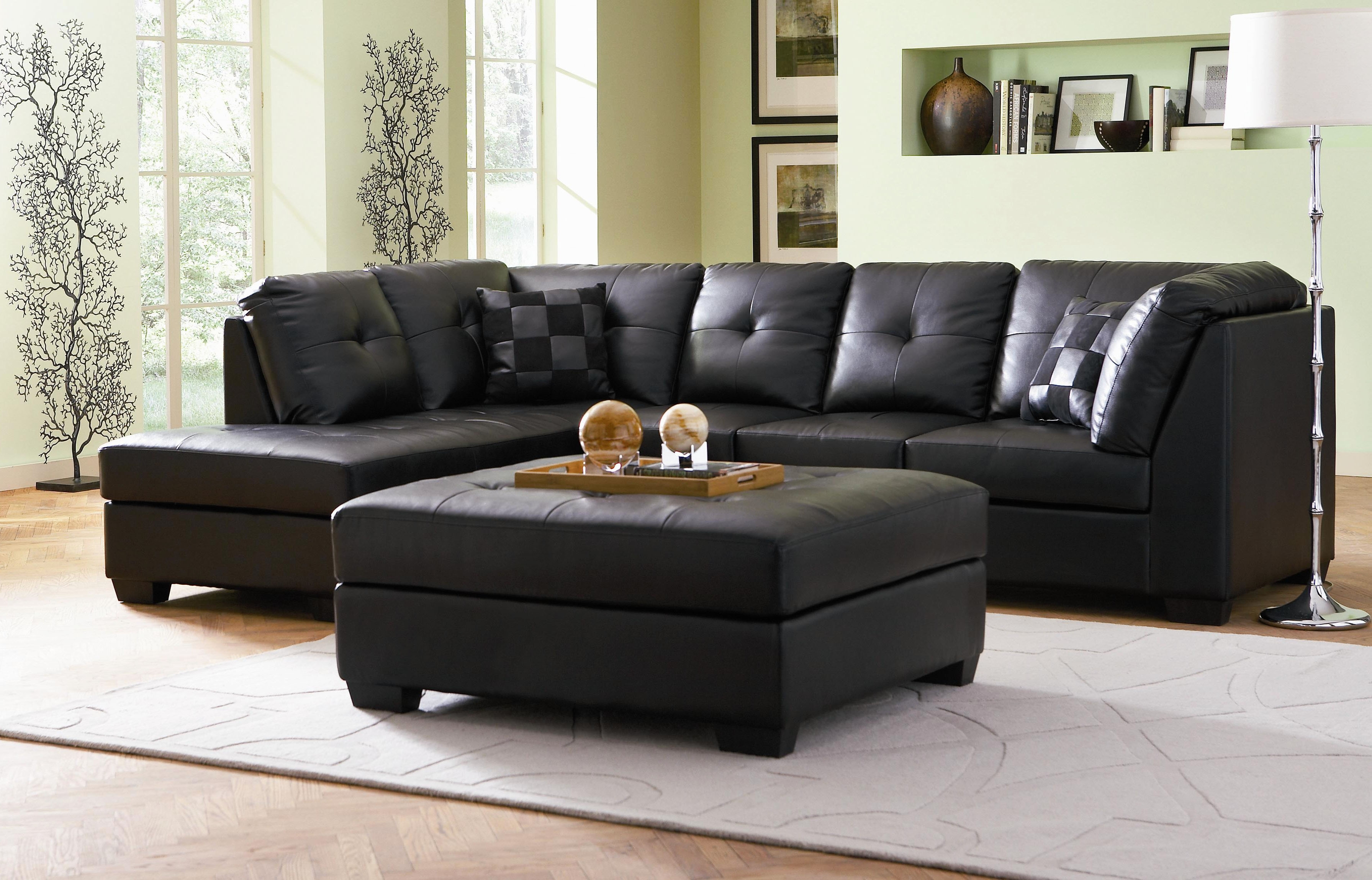 Leather Sectional Sofa For Small Living Room In Black Color With Throughout Leather Sectional Sofas With Ottoman (View 8 of 15)