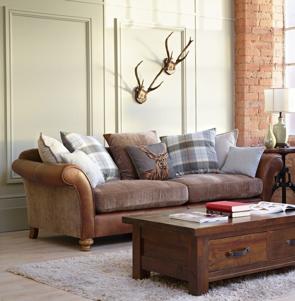 Leatherd Cloth Sofa Fabric Mix Uk Mixed Sofas Material Dfs Corner Within Leather And Cloth Sofas (View 8 of 10)