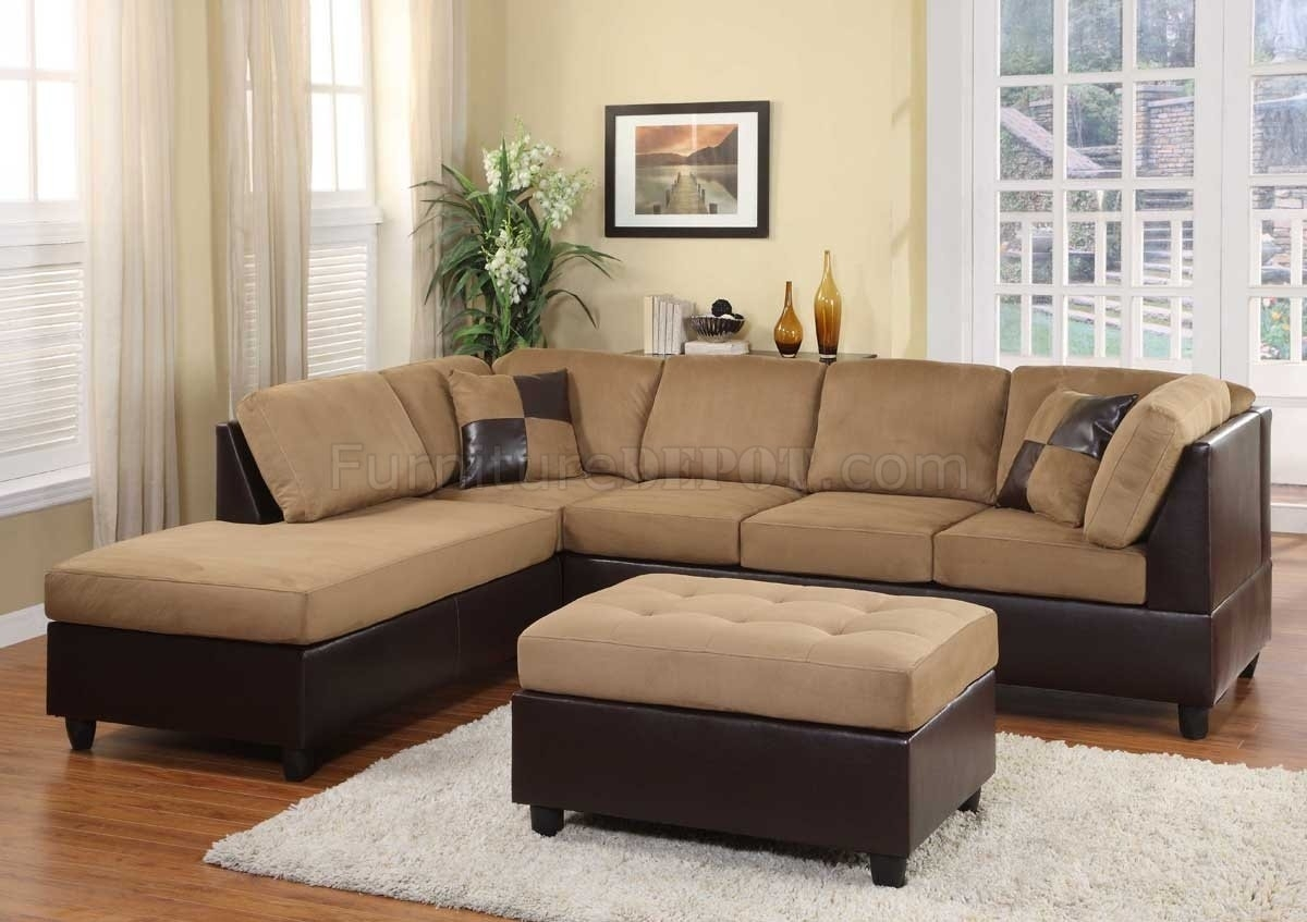 Light Brown Microfiber Modern Sectional Sofa W/ottoman intended for Modern Microfiber Sectional Sofas (Image 5 of 10)