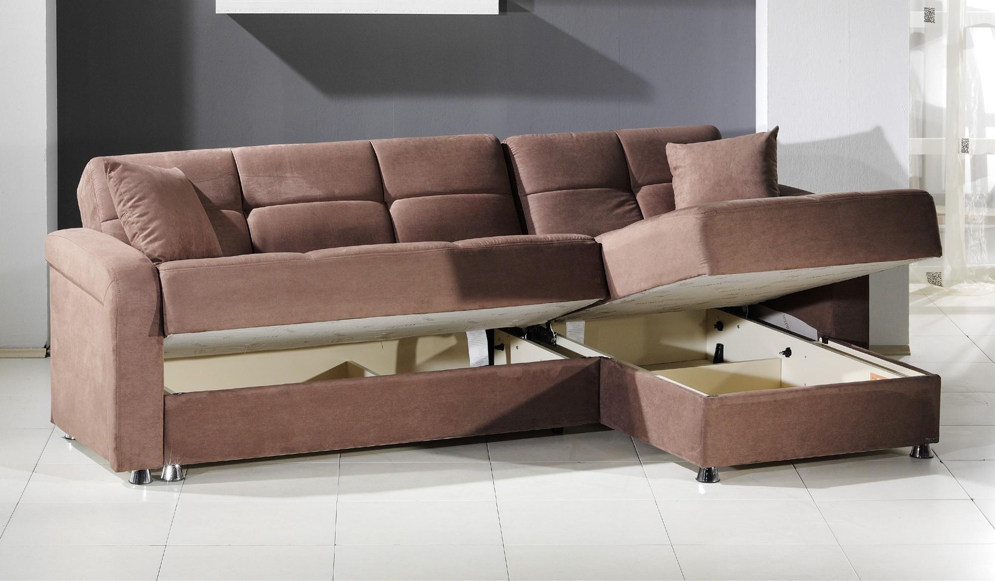 Light Brown Microfiber Sectional Sleeper Sofa With Storage And inside Sectional Sleeper Sofas With Ottoman (Image 10 of 15)