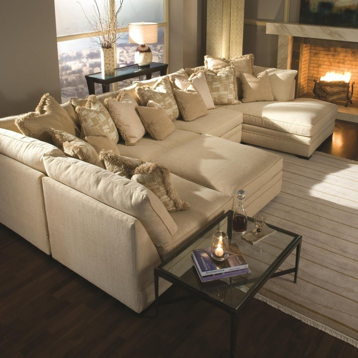 Light Brown Sectional Fabric Sofa With Two Chaise Lounge And Piles in U Shaped Sectional Sofas (Image 5 of 10)