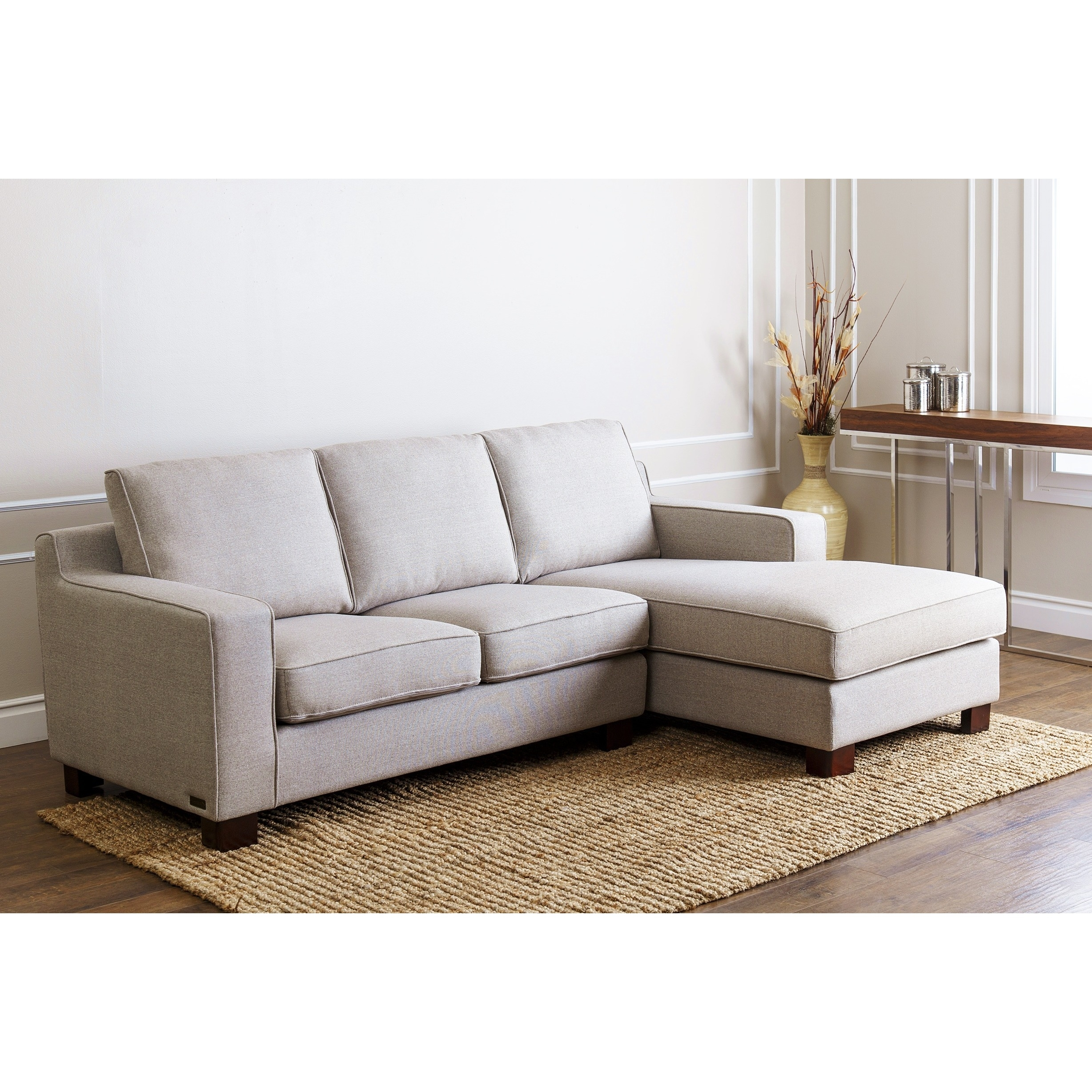 Light Gray Fabric Sectional Chaise Couch Which Combined With with Overstock Sectional Sofas (Image 8 of 10)