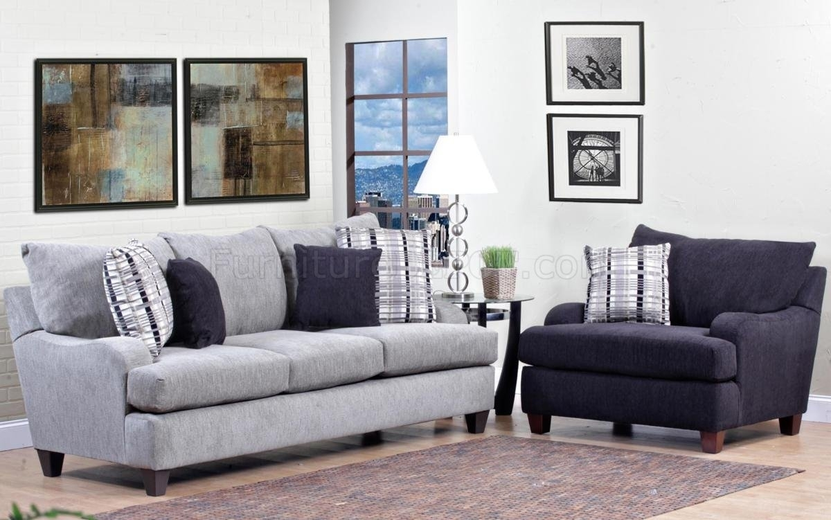 Light Grey Fabric Modern Sofa & Accent Chair Set W/options Throughout Sofa And Accent Chair Sets (View 3 of 10)