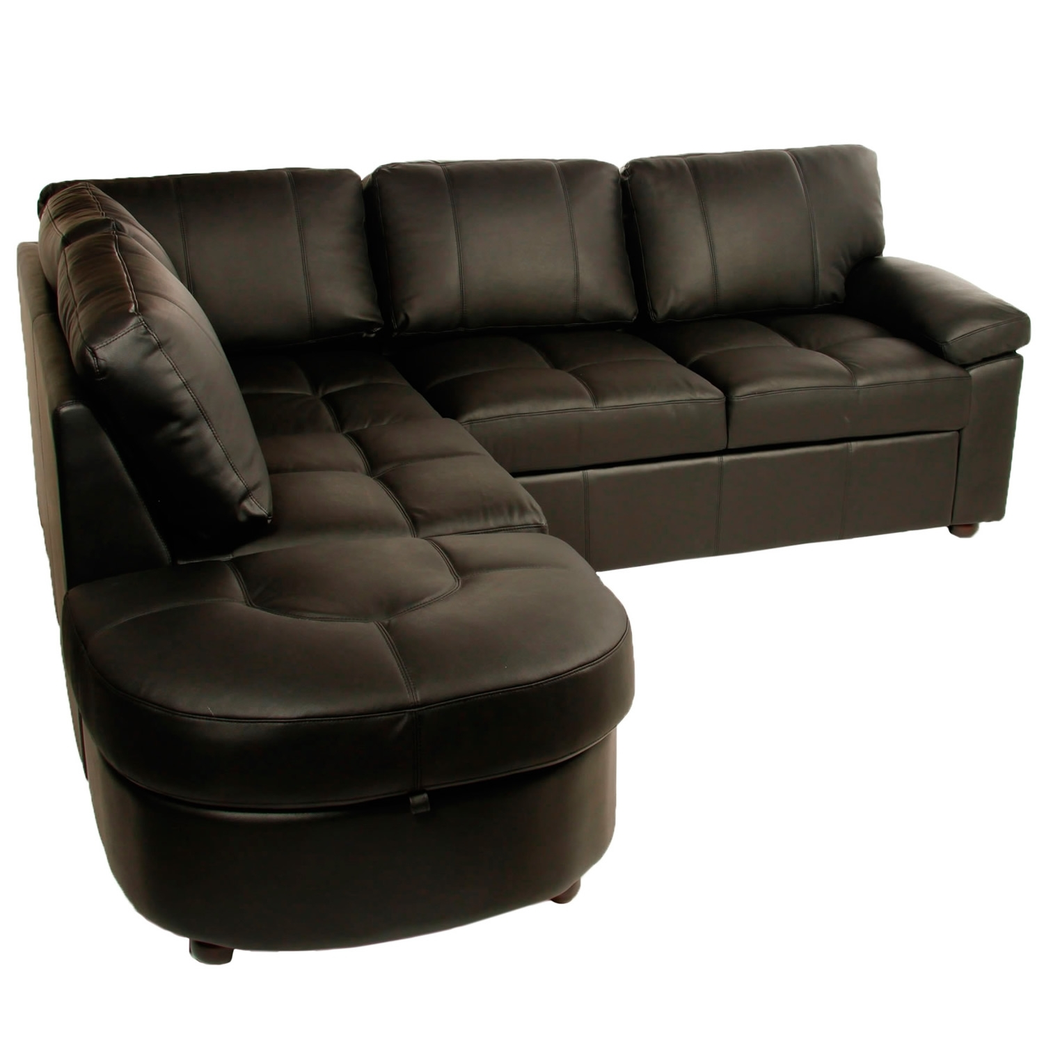 Lina Black Leather Corner Sofa Bed With Storage – Sofabedsworld.co with Leather Sofas With Storage (Image 5 of 10)