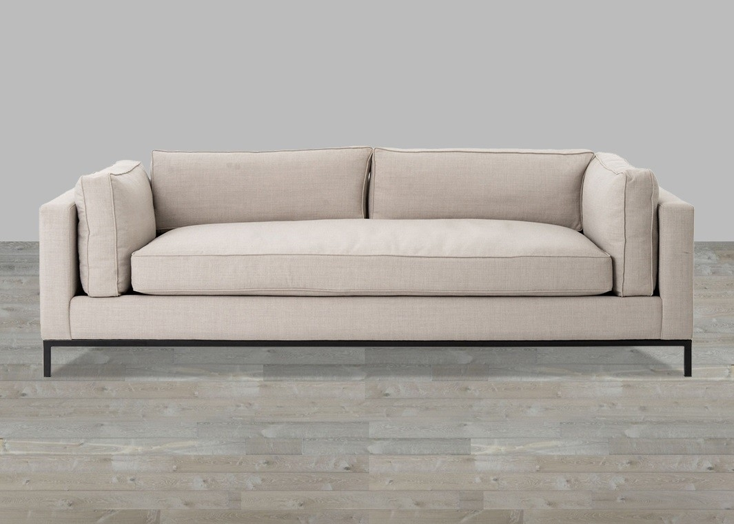 Linen Sofa With Single Seat Cushion within Single Sofas (Image 4 of 10)