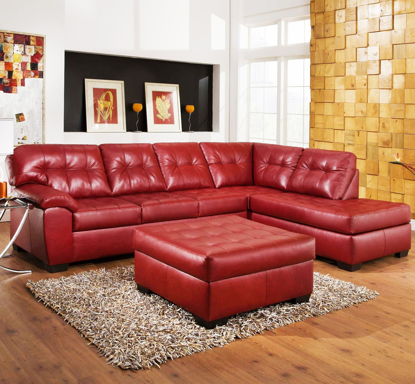 Living Room: Astonishing Rooms To Go Sectional Leather Havertys pertaining to Red Faux Leather Sectionals (Image 5 of 15)