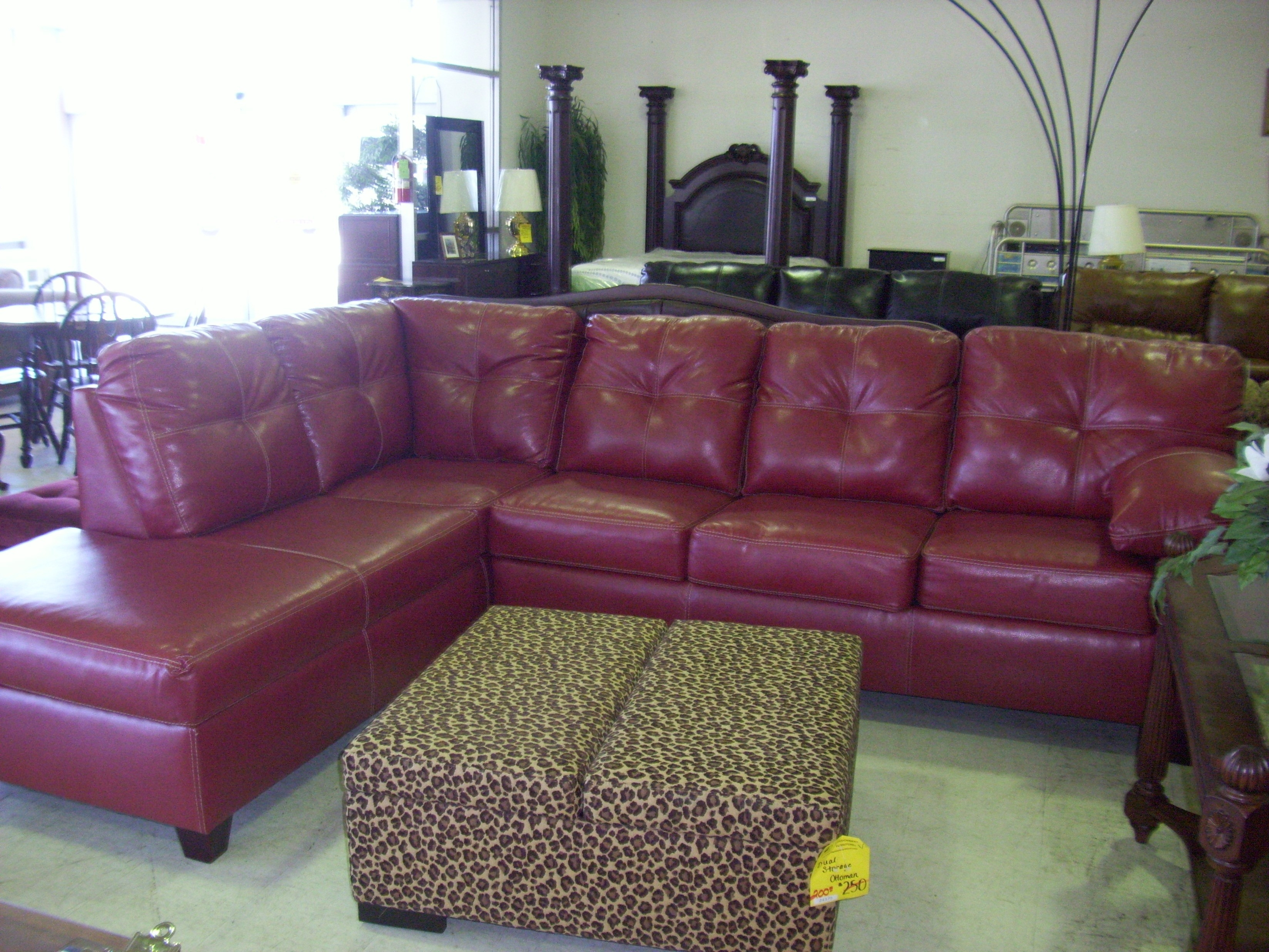 Living Room Decoration With Red Leather Sectional Sofa Feature L pertaining to Red Leather Sectional Sofas With Ottoman (Image 6 of 15)