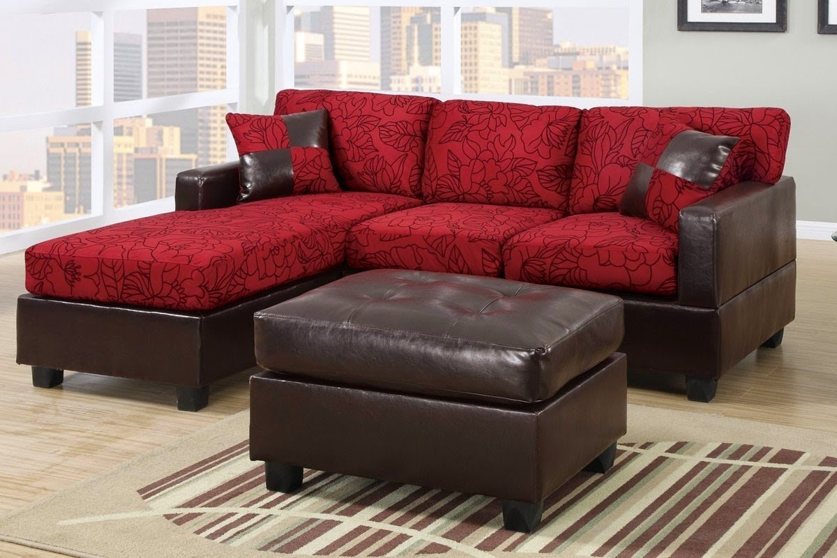 Living Room. Red And Brown Leather Sectional Couch With Storage with regard to Red Leather Sectional Sofas With Ottoman (Image 8 of 15)