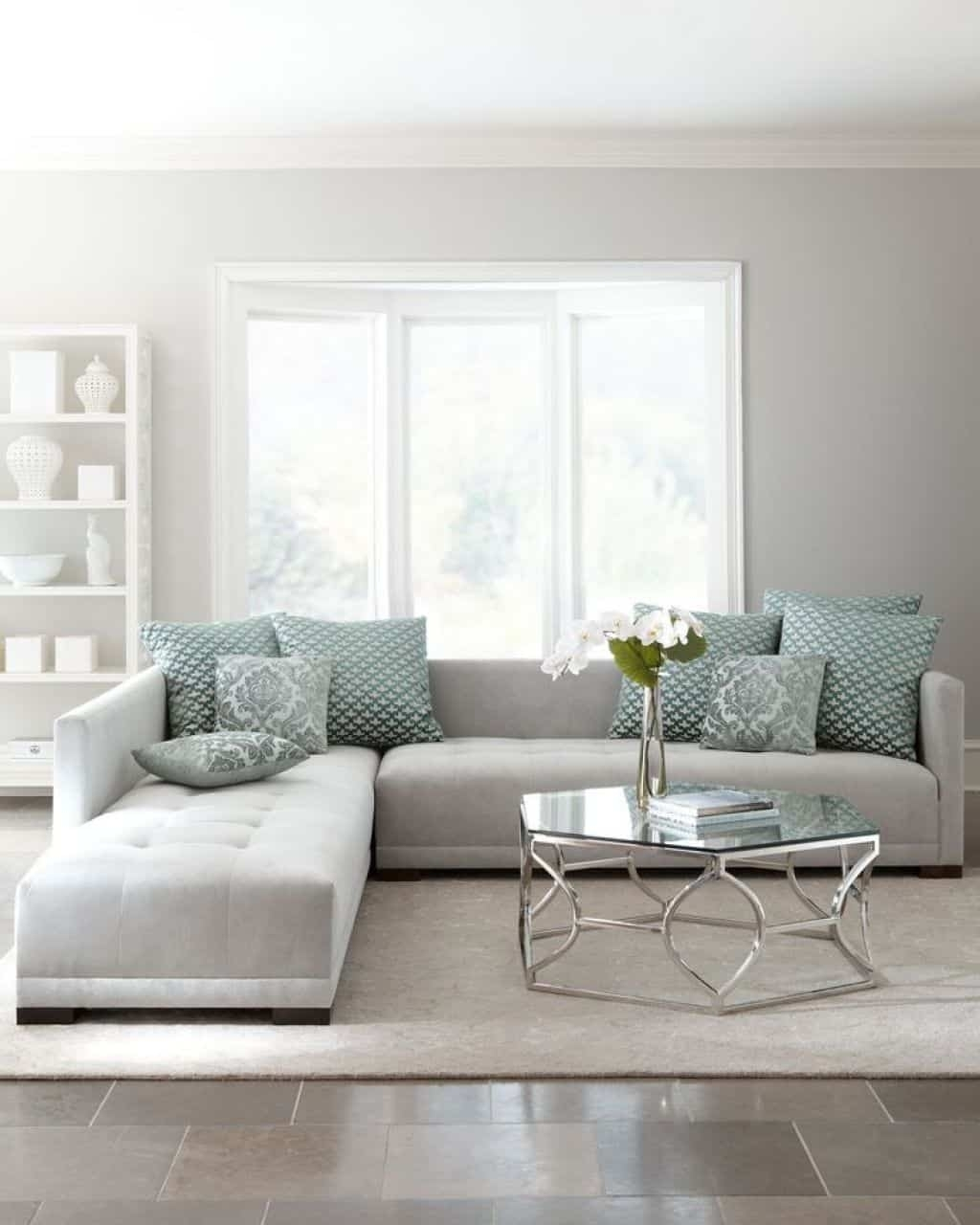 Living Room With Light Grey Sectional Sofa - Ways To Move A pertaining to Light Grey Sectional Sofas (Image 7 of 10)