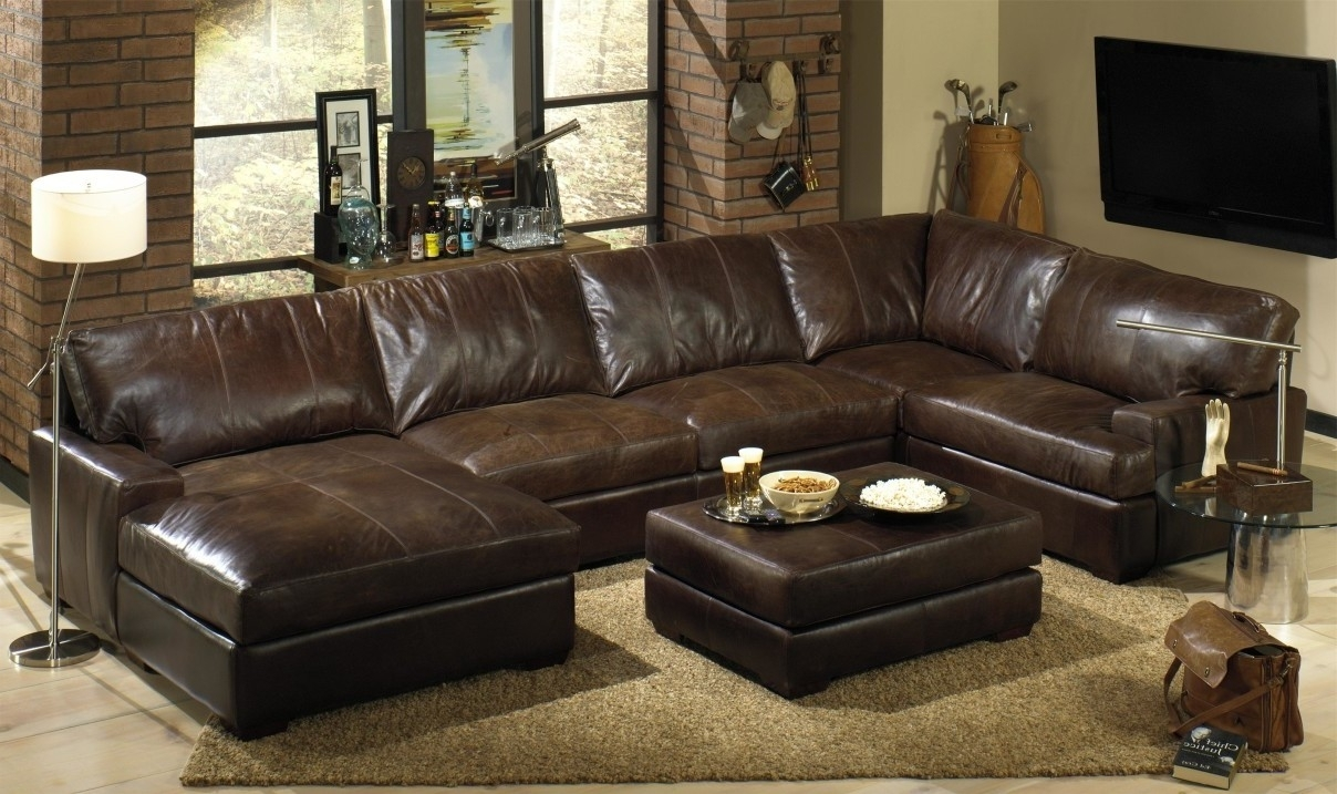 Living Room:distressed Brown Leather Sectional With Letter U Shaped in U Shaped Leather Sectional Sofas (Image 6 of 10)